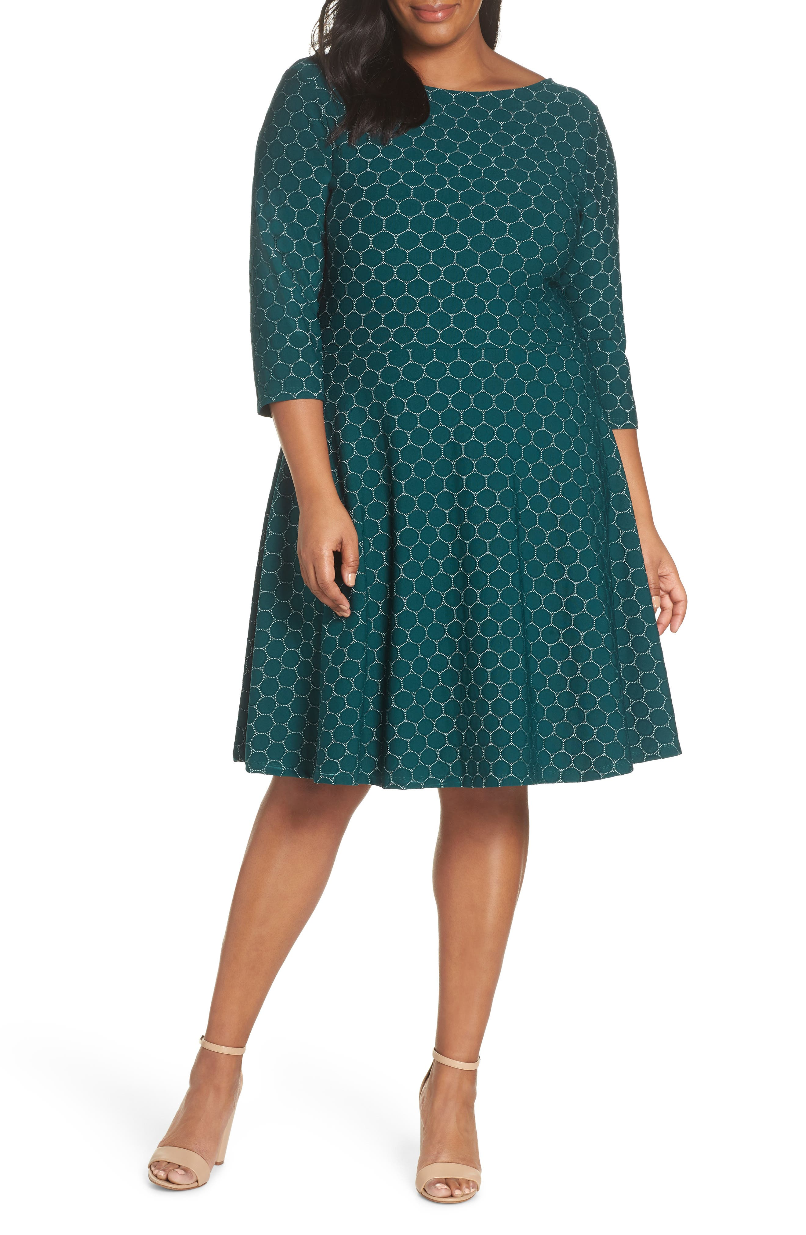 LEOTA Circle Knit Fit & Flare Dress in Botanical Luxe