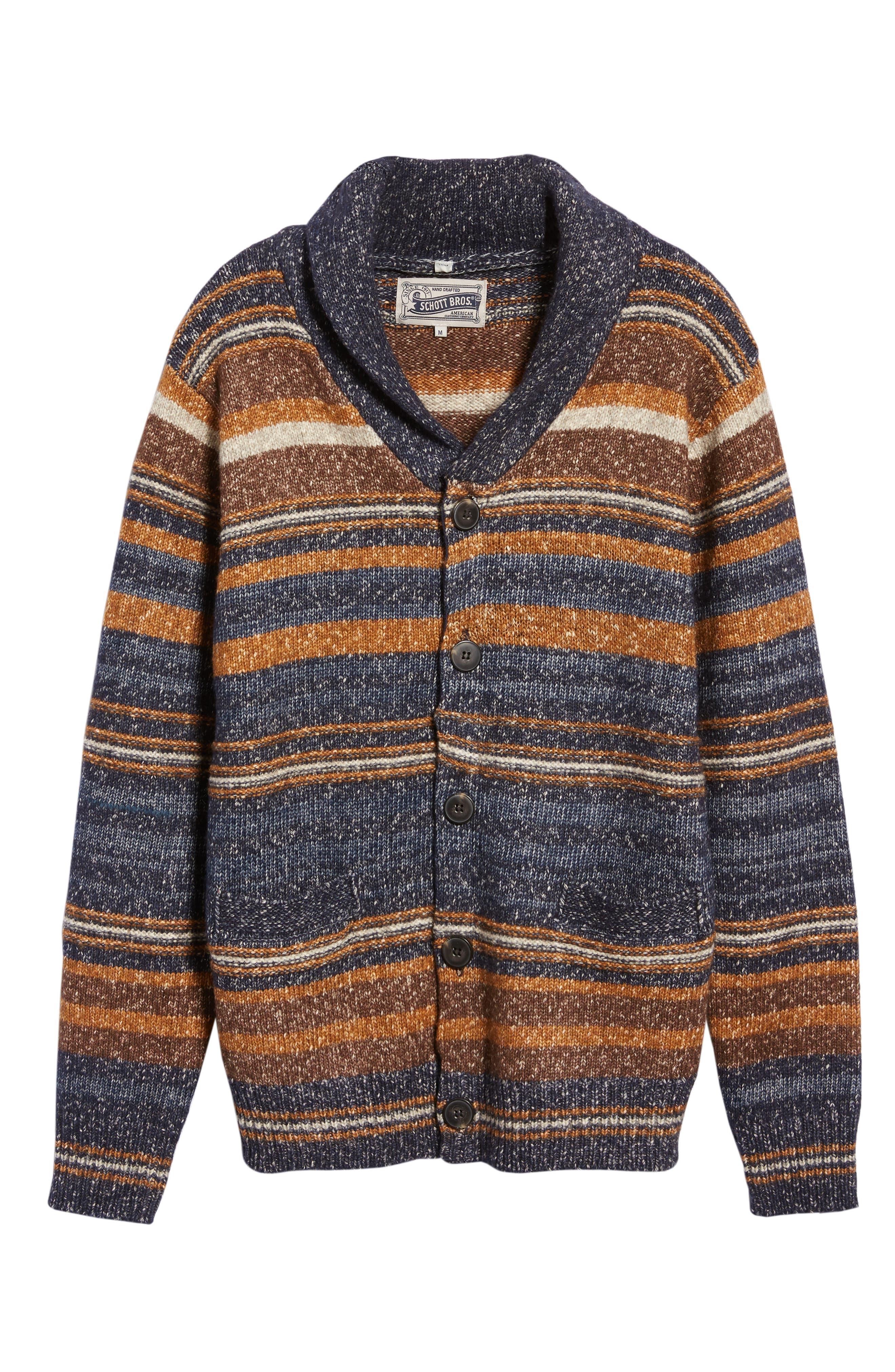 Stripe Cardigan Sweater,                             Alternate thumbnail 6, color,                             STRIPE