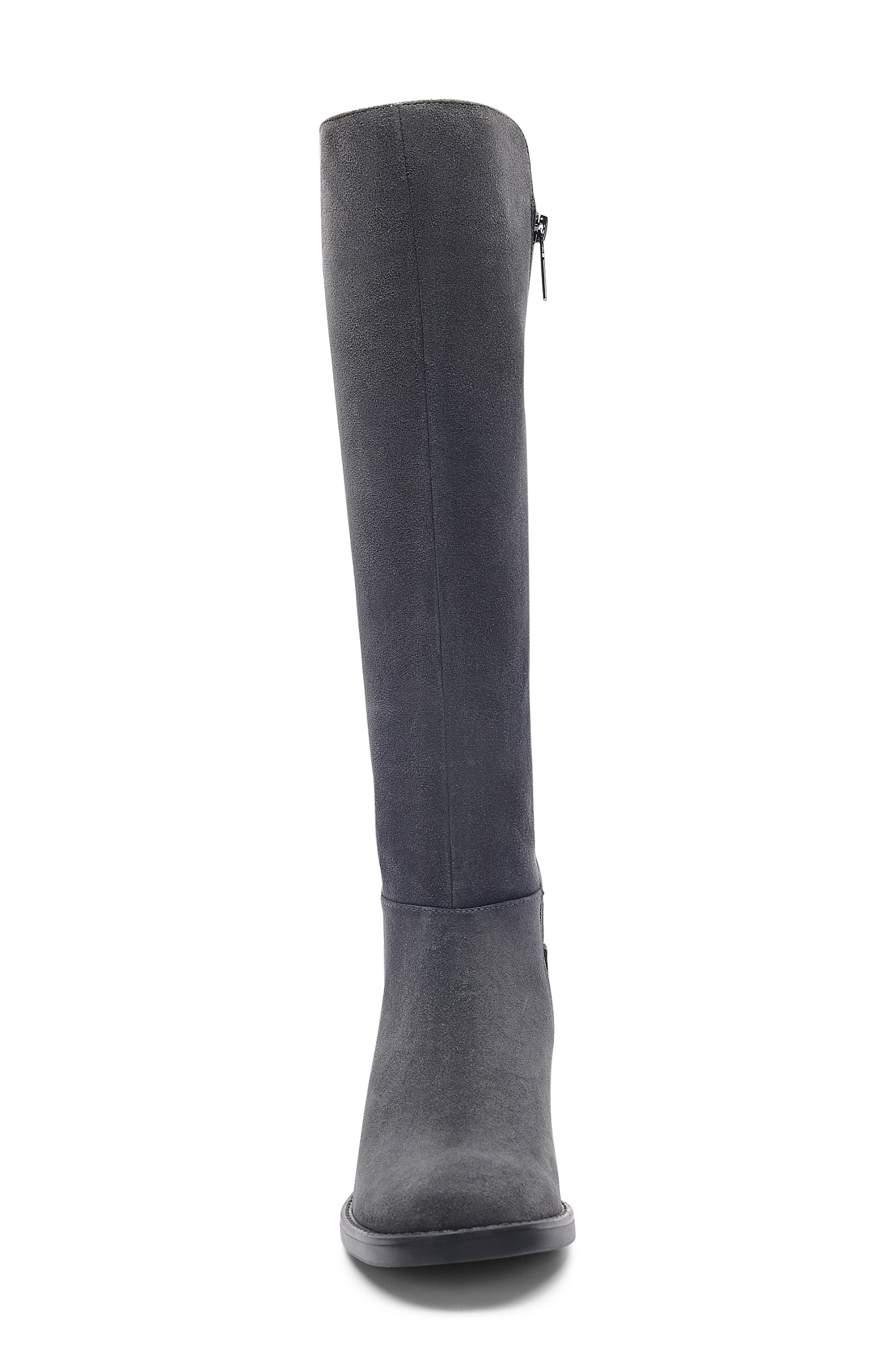 Ellie Waterproof Knee High Riding Boot,                             Alternate thumbnail 4, color,                             DARK GREY SUEDE