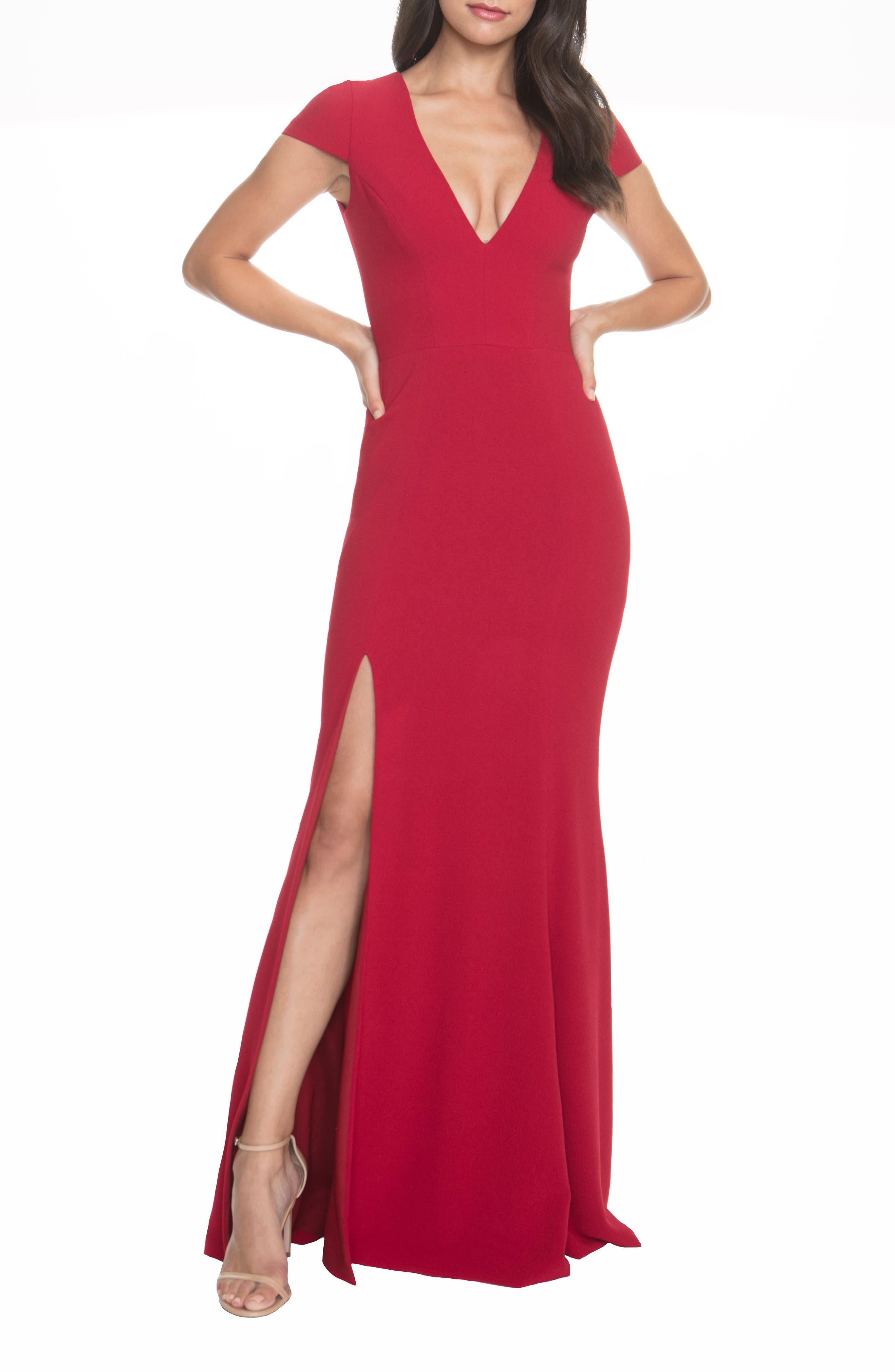 Dress The Population Karla V-Neck Trumpet Gown, Red