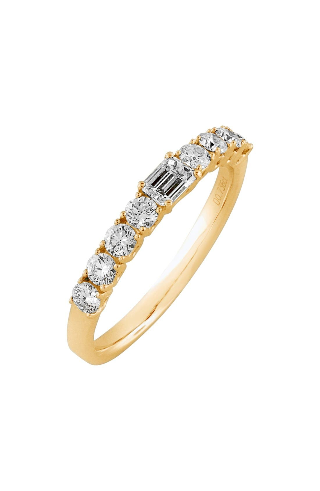 'Liora' Stackable Emerald Cut Diamond Ring,                             Main thumbnail 1, color,                             YELLOW GOLD