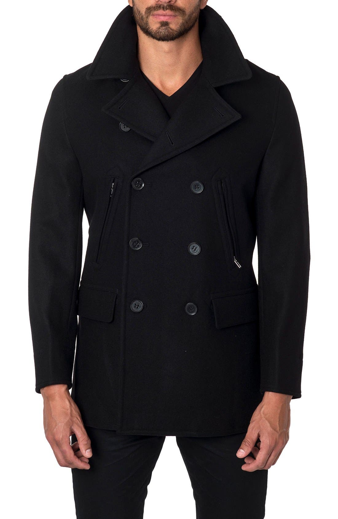 Wool Blend Double Breasted Peacoat,                         Main,                         color,