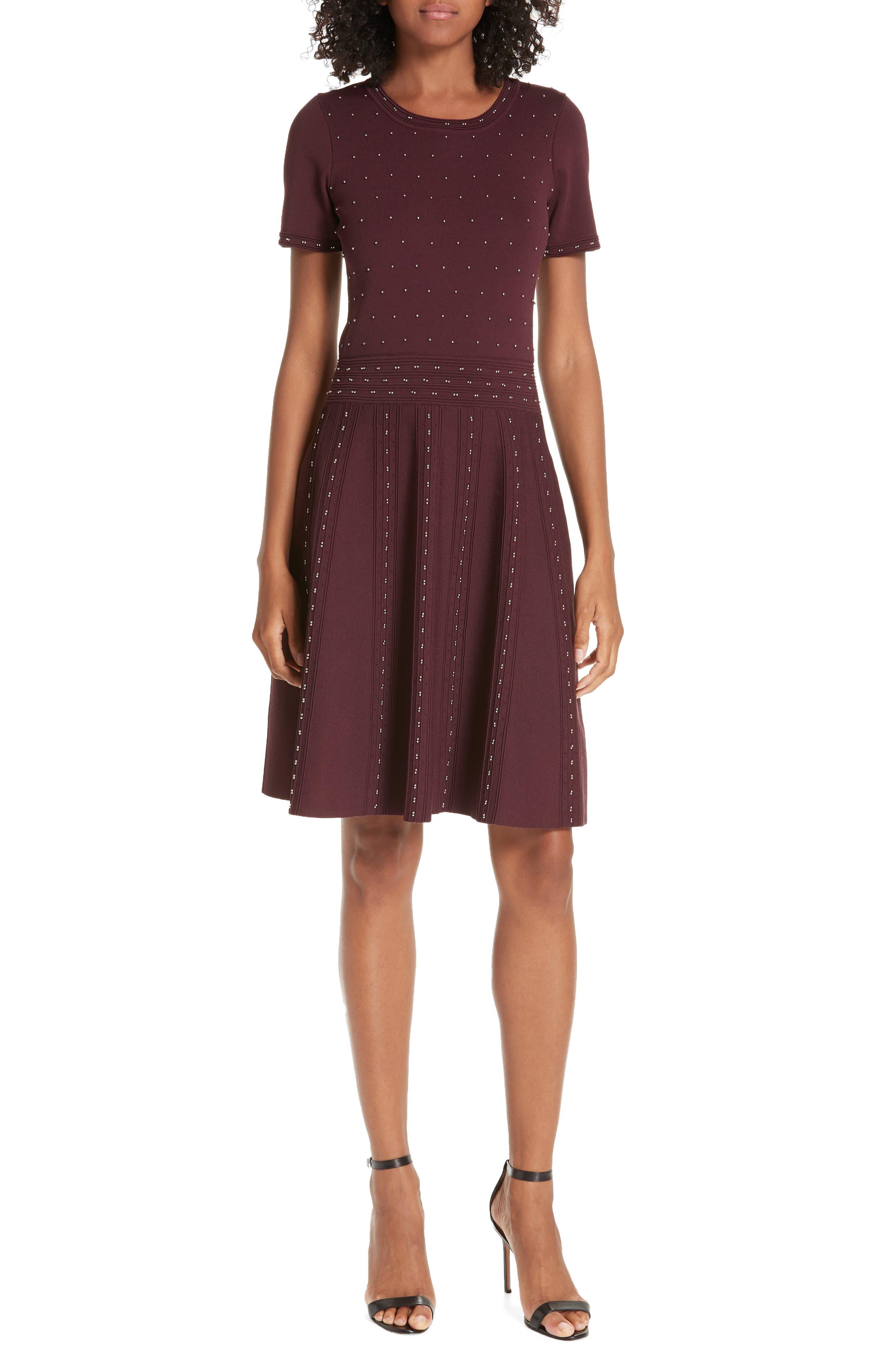 Montaigne Metallic Bead Fit & Flare Dress,                             Main thumbnail 1, color,                             613