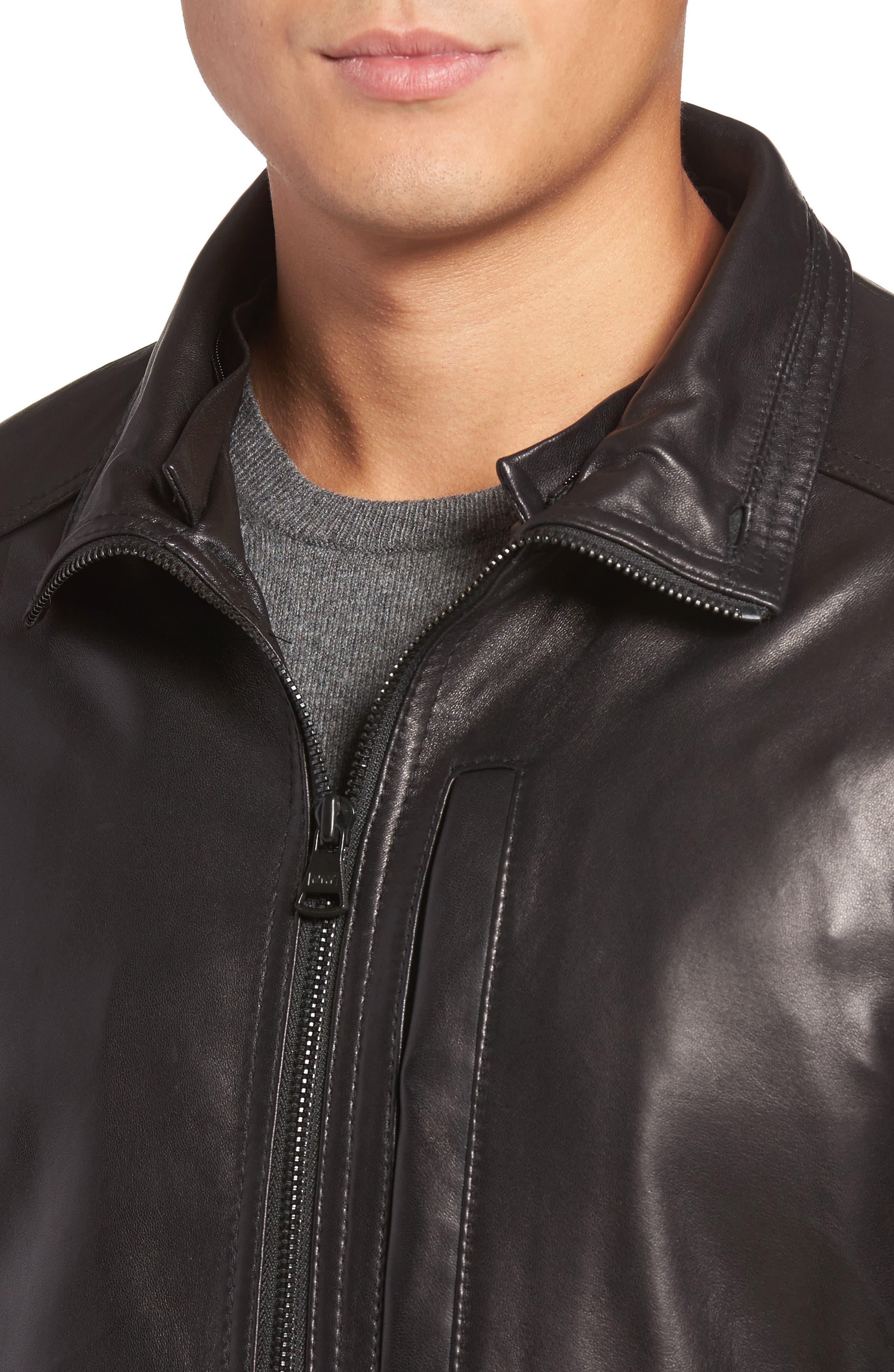 Lambskin Leather Jacket with Genuine Rabbit Fur Trim,                             Alternate thumbnail 7, color,