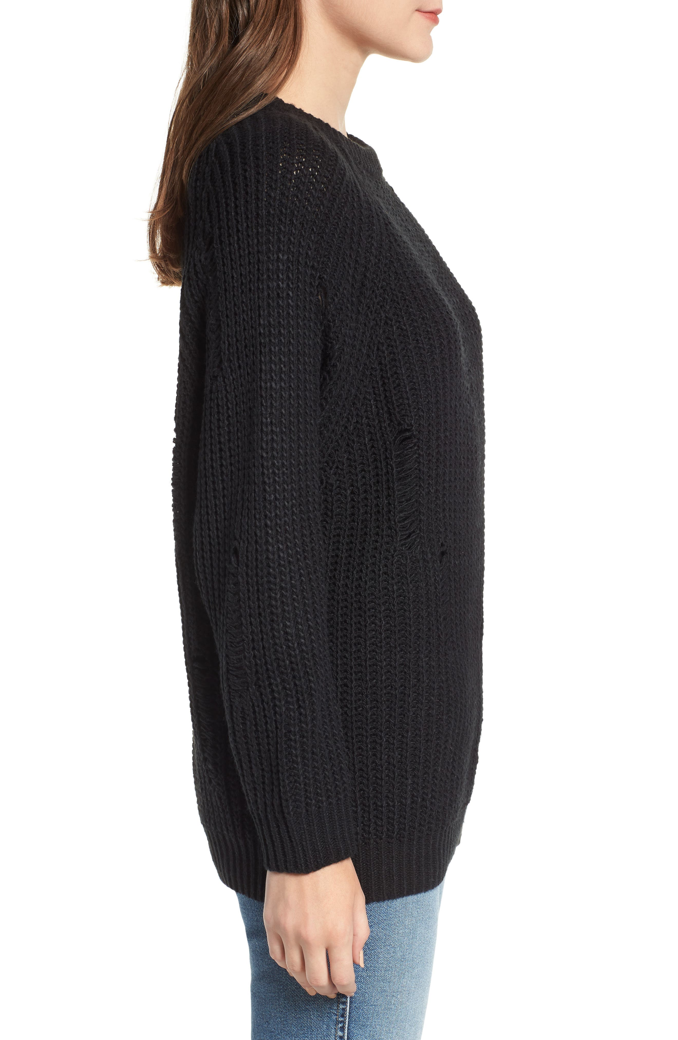 Bishop + Young Simone Distressed Shaker Sweater,                             Alternate thumbnail 3, color,                             BLACK