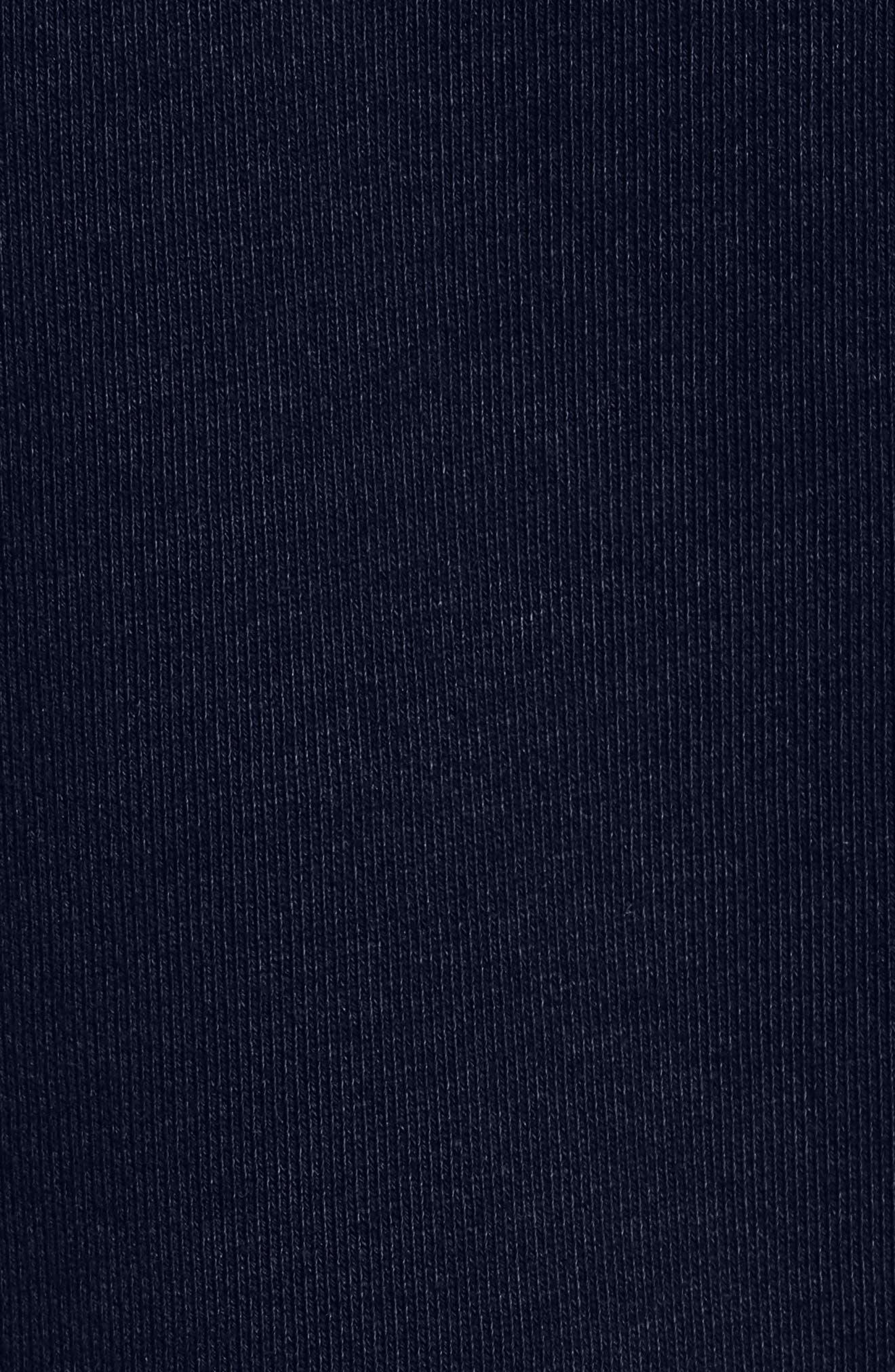 Destroyed Regular Fit Zip Hoodie with Faux Fur Trim,                             Alternate thumbnail 5, color,                             NAVY