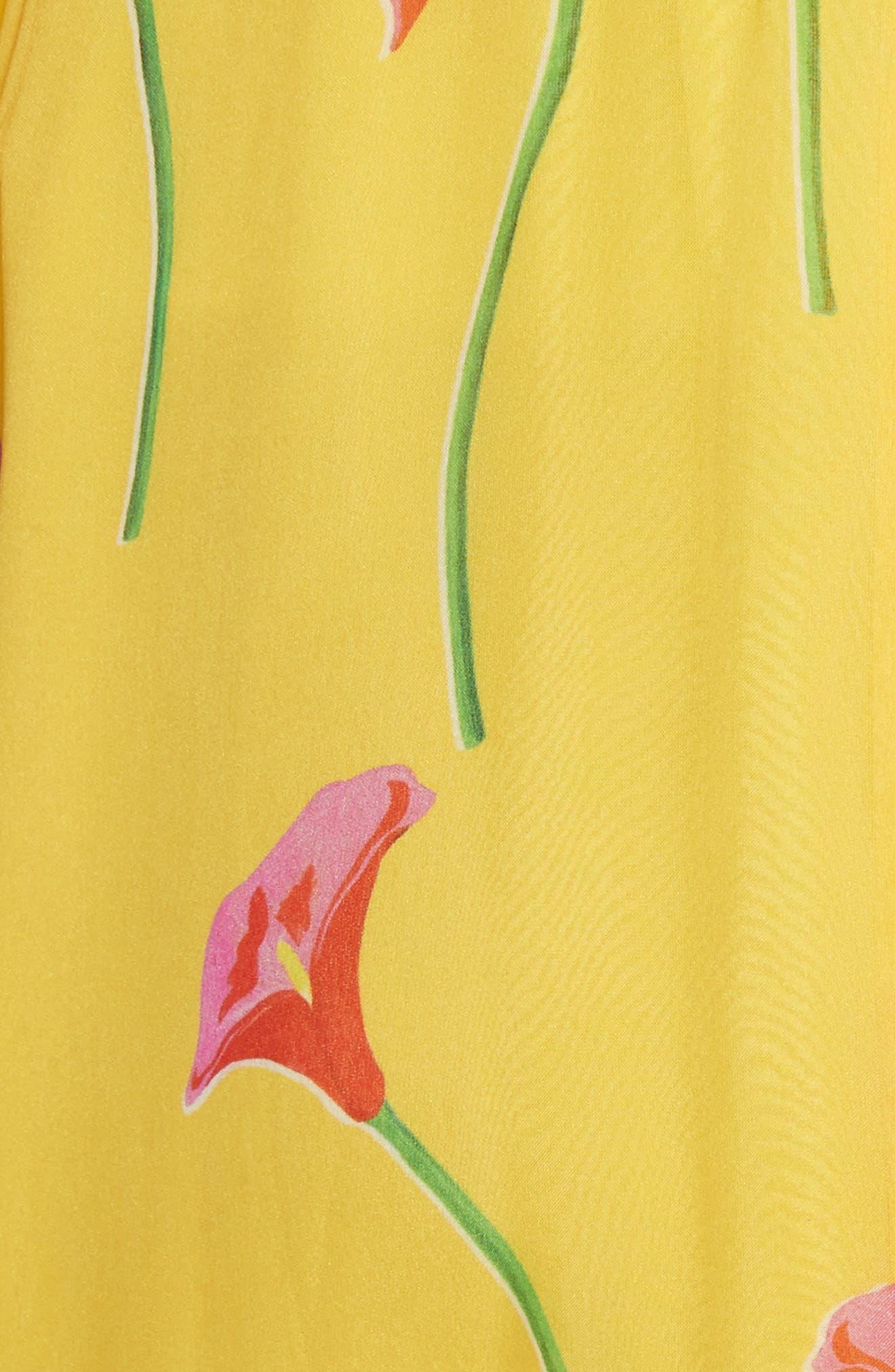 CAROLINE CONSTAS,                             Adelle Ruffle Trim High/Low Silk Skirt,                             Alternate thumbnail 5, color,                             720