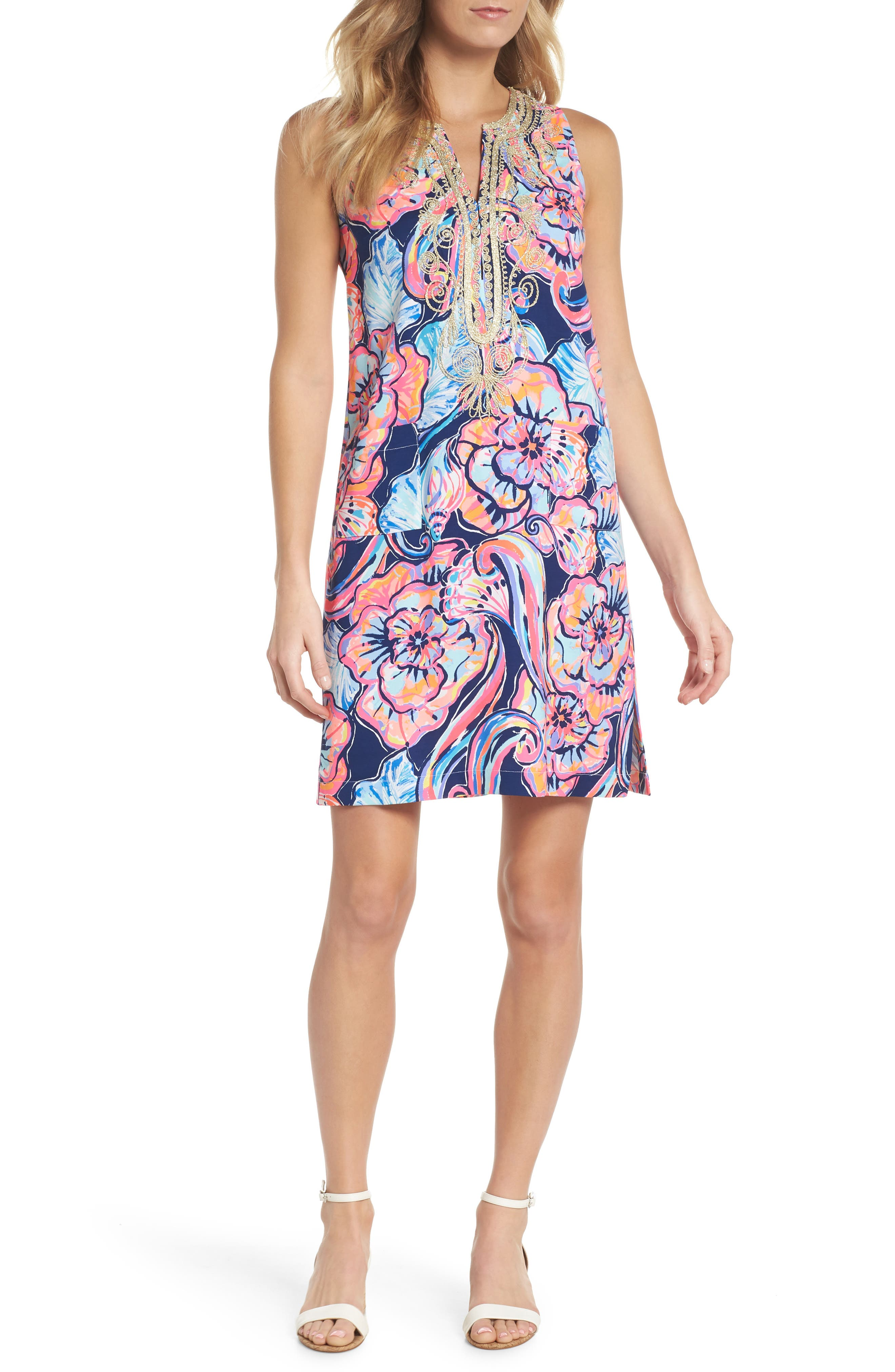 Carlotta Sleeveless Stretch Shift Dress,                         Main,                         color, NAUTICAL NAVY