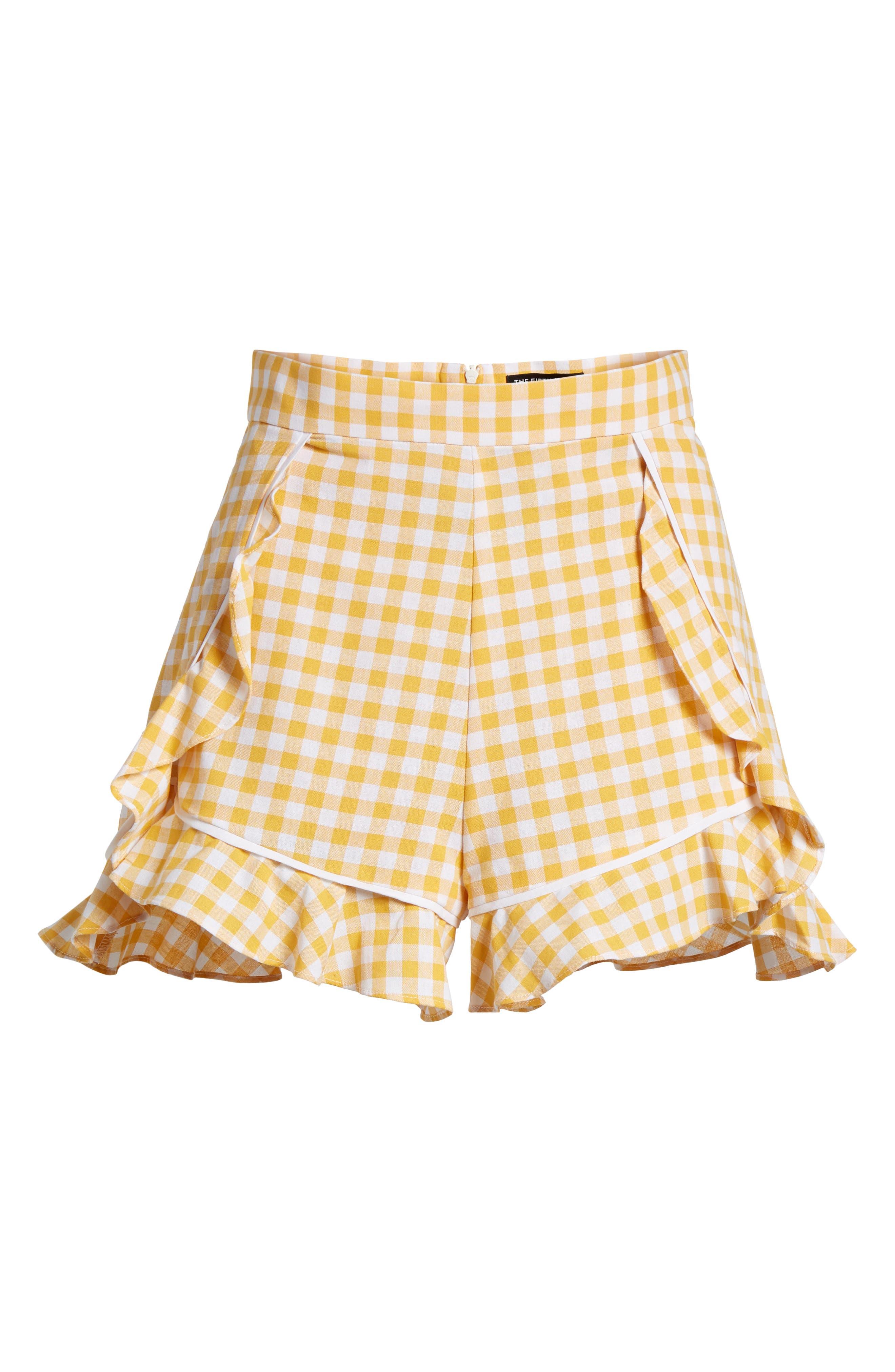 Idyllic Gingham Ruffle Shorts,                             Alternate thumbnail 6, color,                             702