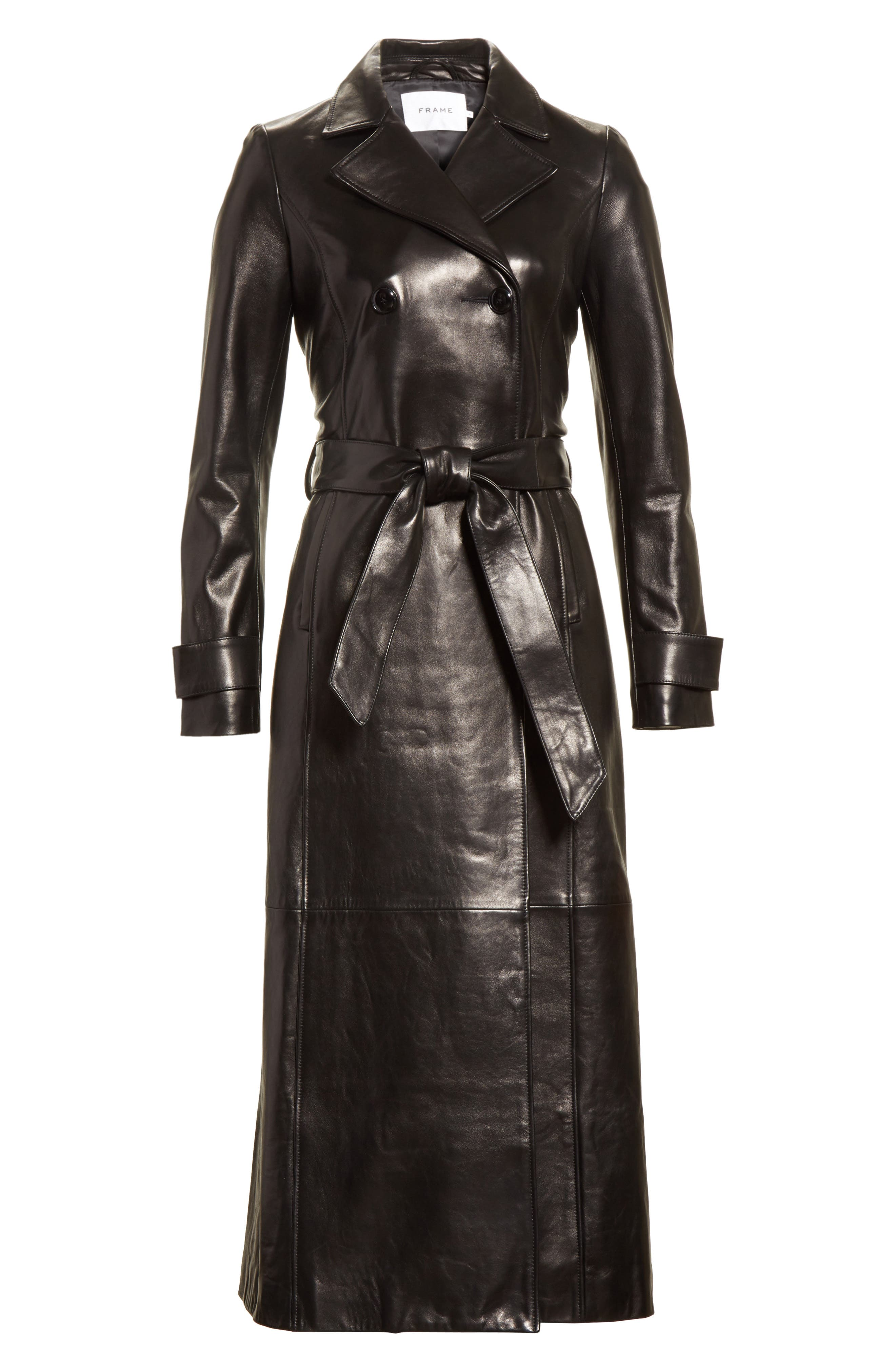 Leather Trench Coat,                             Alternate thumbnail 4, color,                             001
