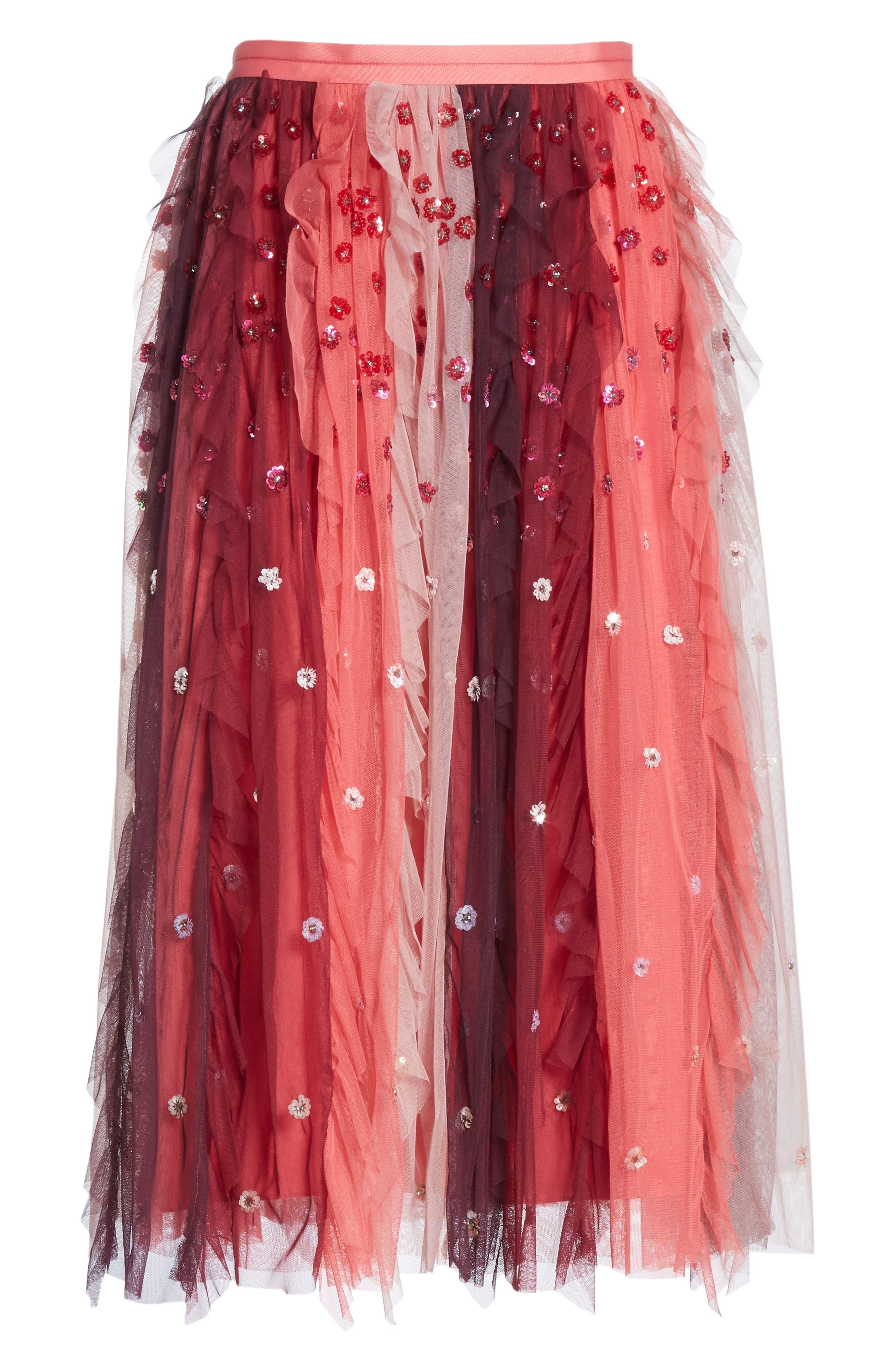Rainbow Midi Skirt,                             Alternate thumbnail 6, color,                             CHERRY