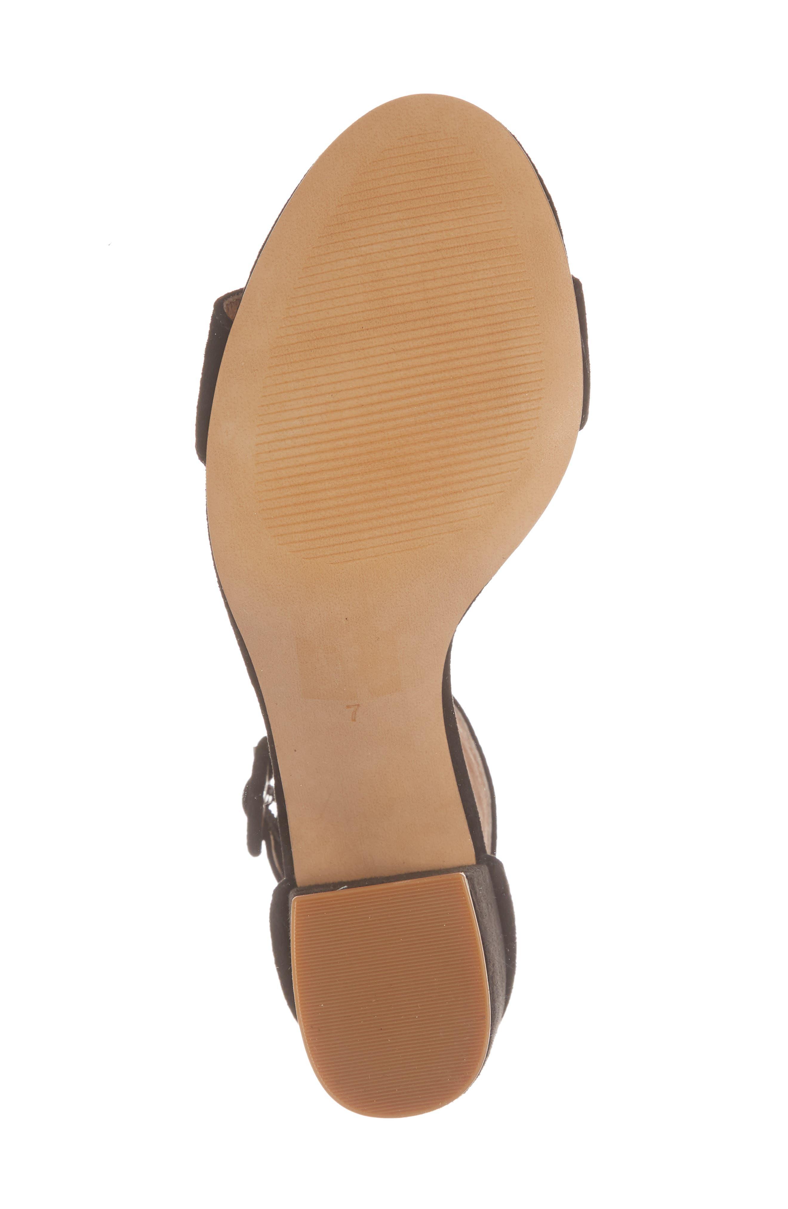 The Regina Ankle Strap Sandal,                             Alternate thumbnail 6, color,                             TRUE BLACK SUEDE