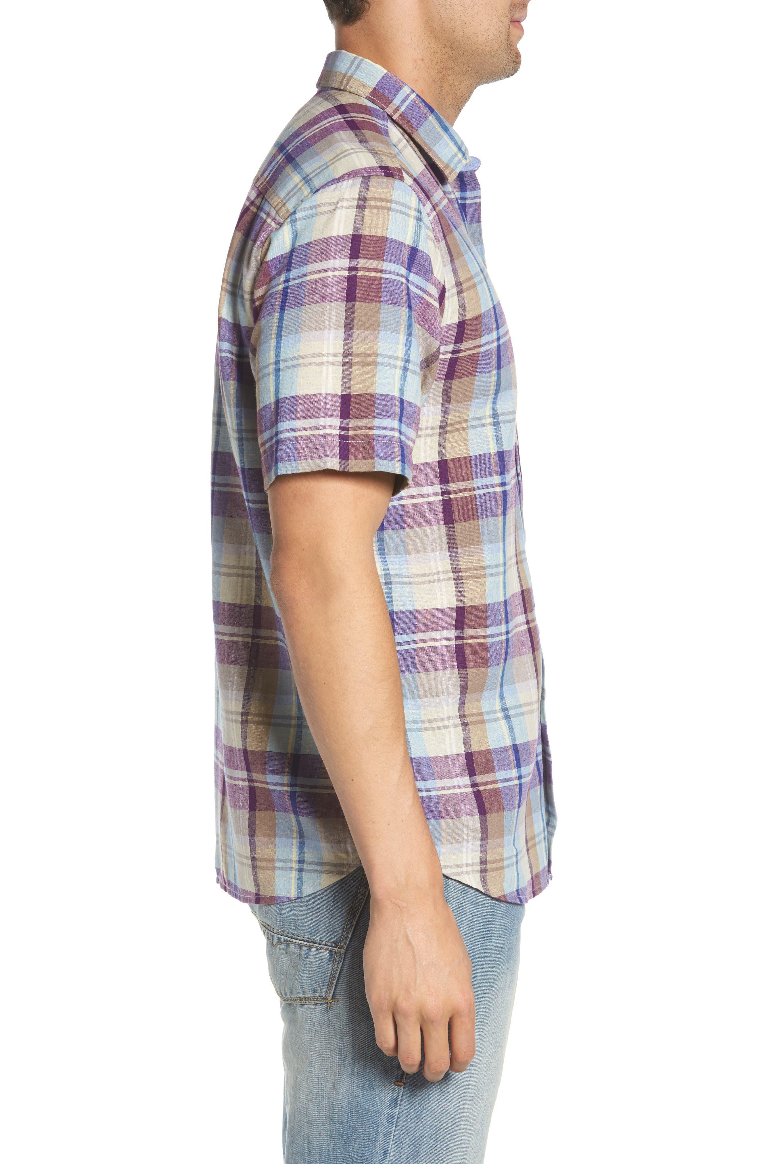 La Paz Plaid Linen Blend Sport Shirt,                             Alternate thumbnail 3, color,                             500