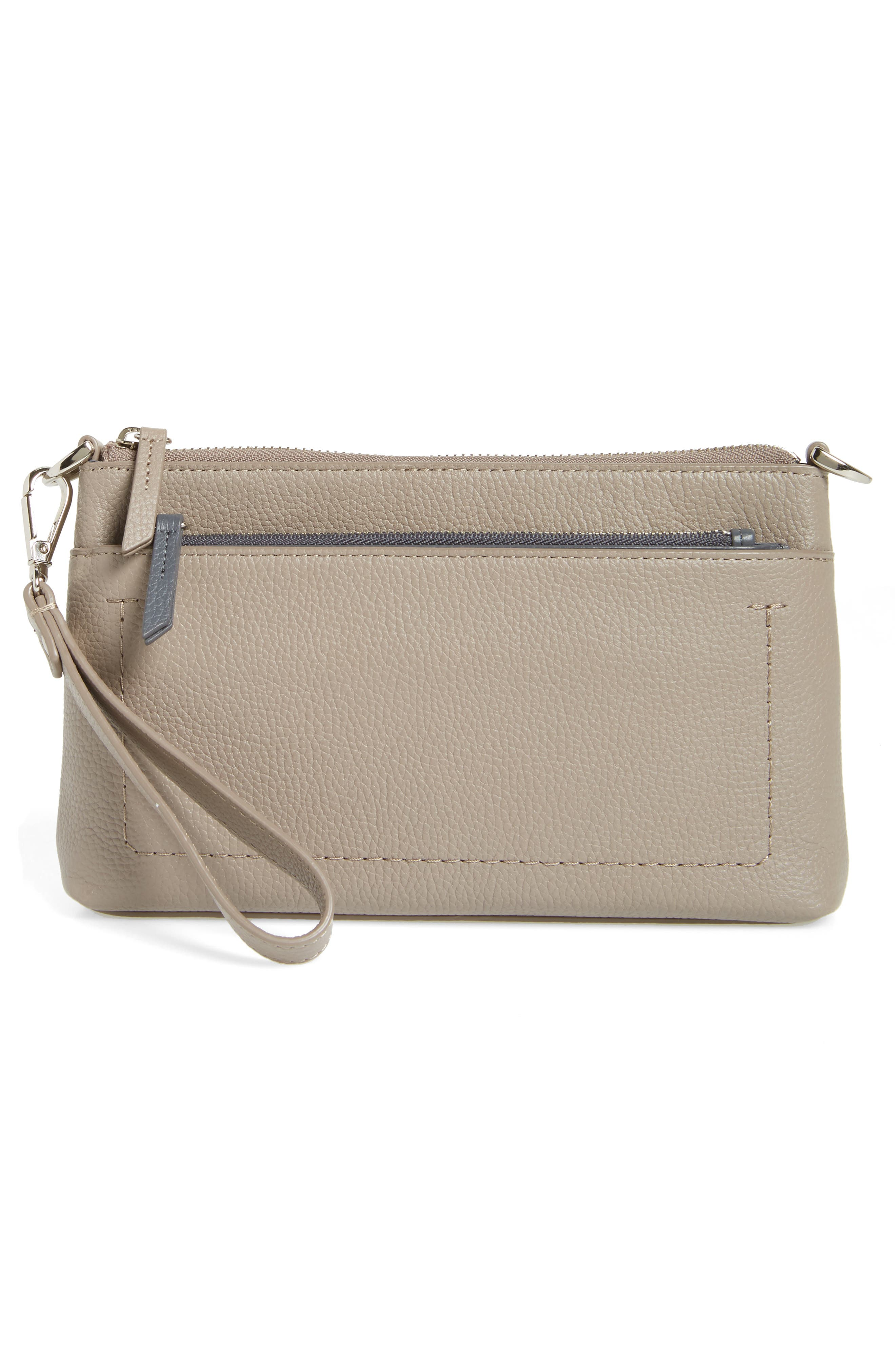 Brixton Convertible Leather Crossbody Bag with Pop-Out Card Holder,                             Alternate thumbnail 3, color,                             GREY TAUPE