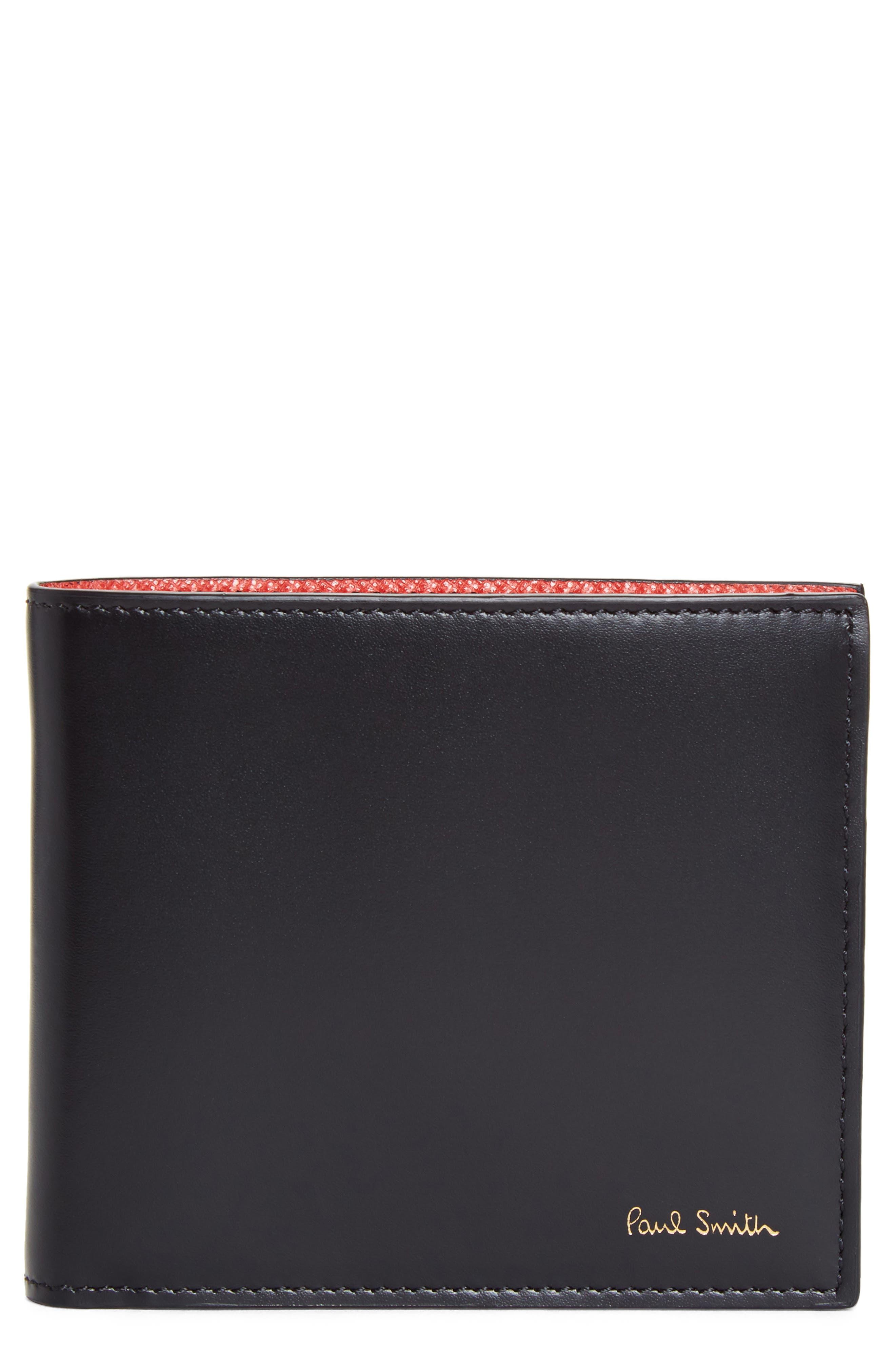 Leopard Print Billfold Wallet,                         Main,                         color, 001