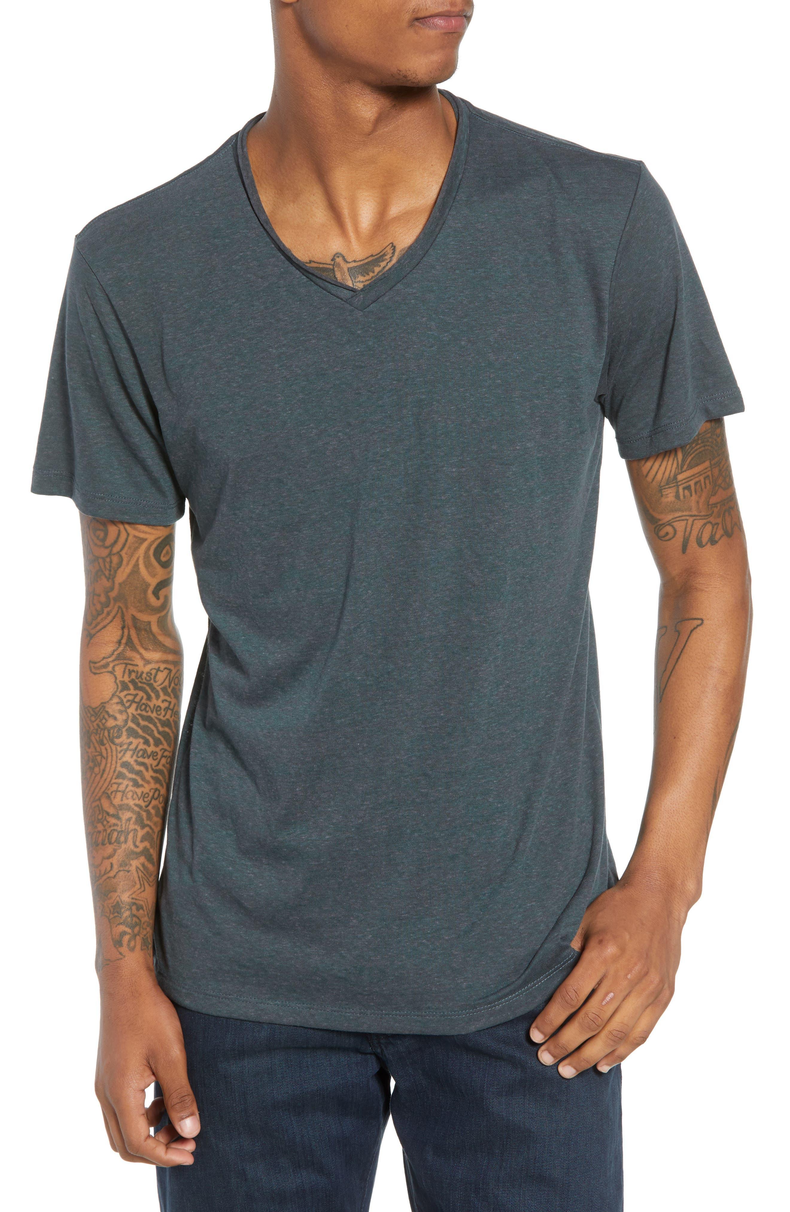 Burnout Raw Edge V-Neck T-Shirt,                             Main thumbnail 1, color,                             310