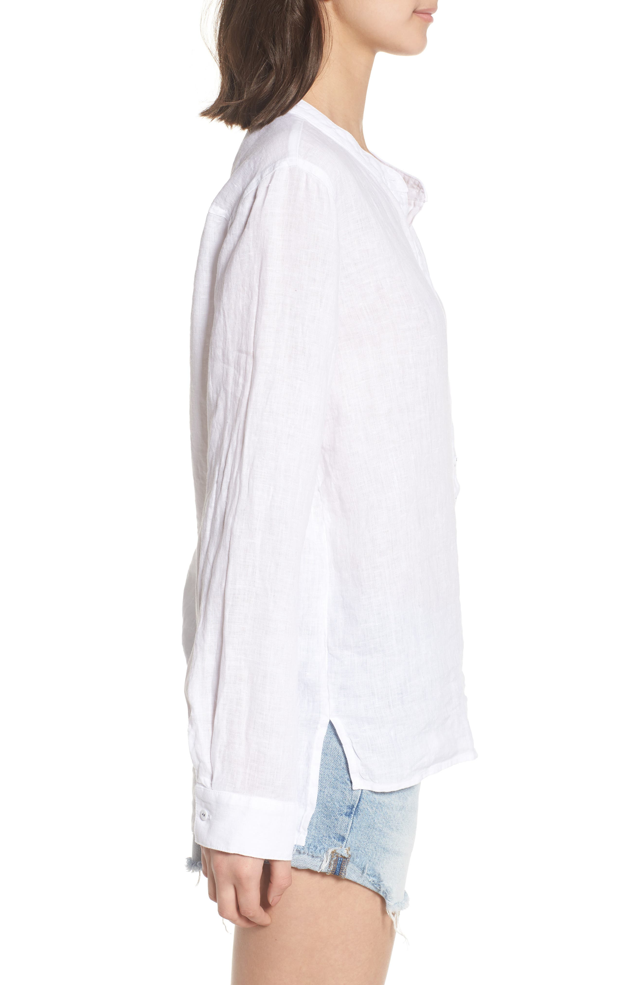 Linen Henley Shirt,                             Alternate thumbnail 3, color,                             100
