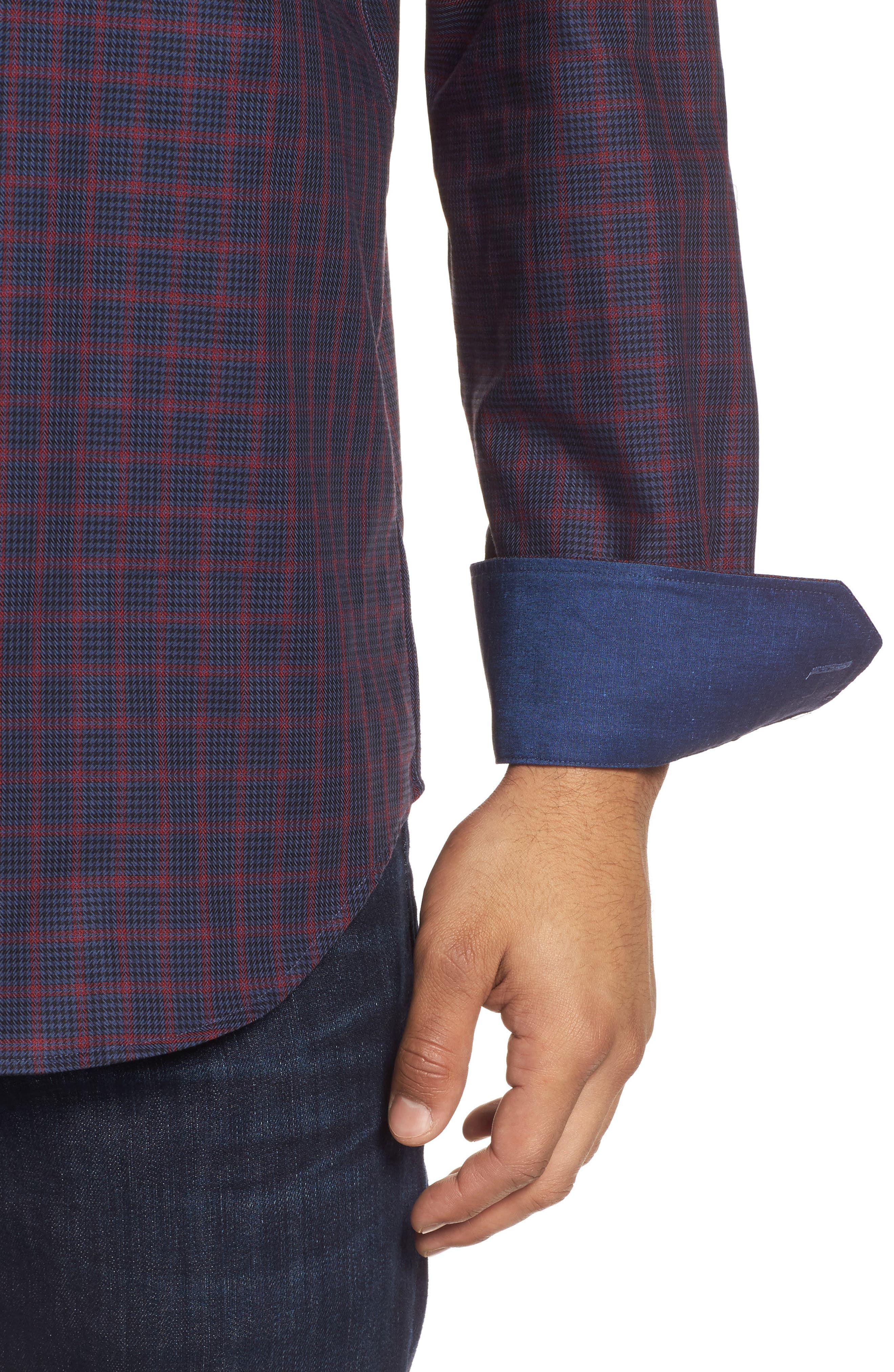 Classic Fit Houndstooth Check Sport Shirt,                             Alternate thumbnail 4, color,                             408