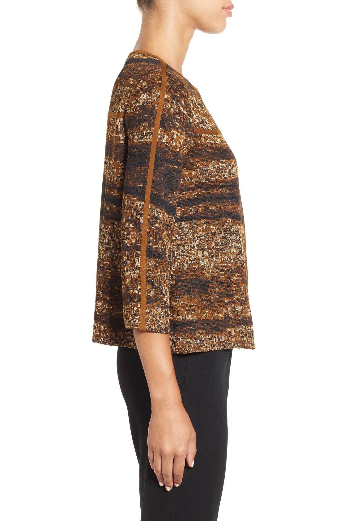 Asymmetrical Jacquard Knit Jacket,                             Alternate thumbnail 3, color,                             241