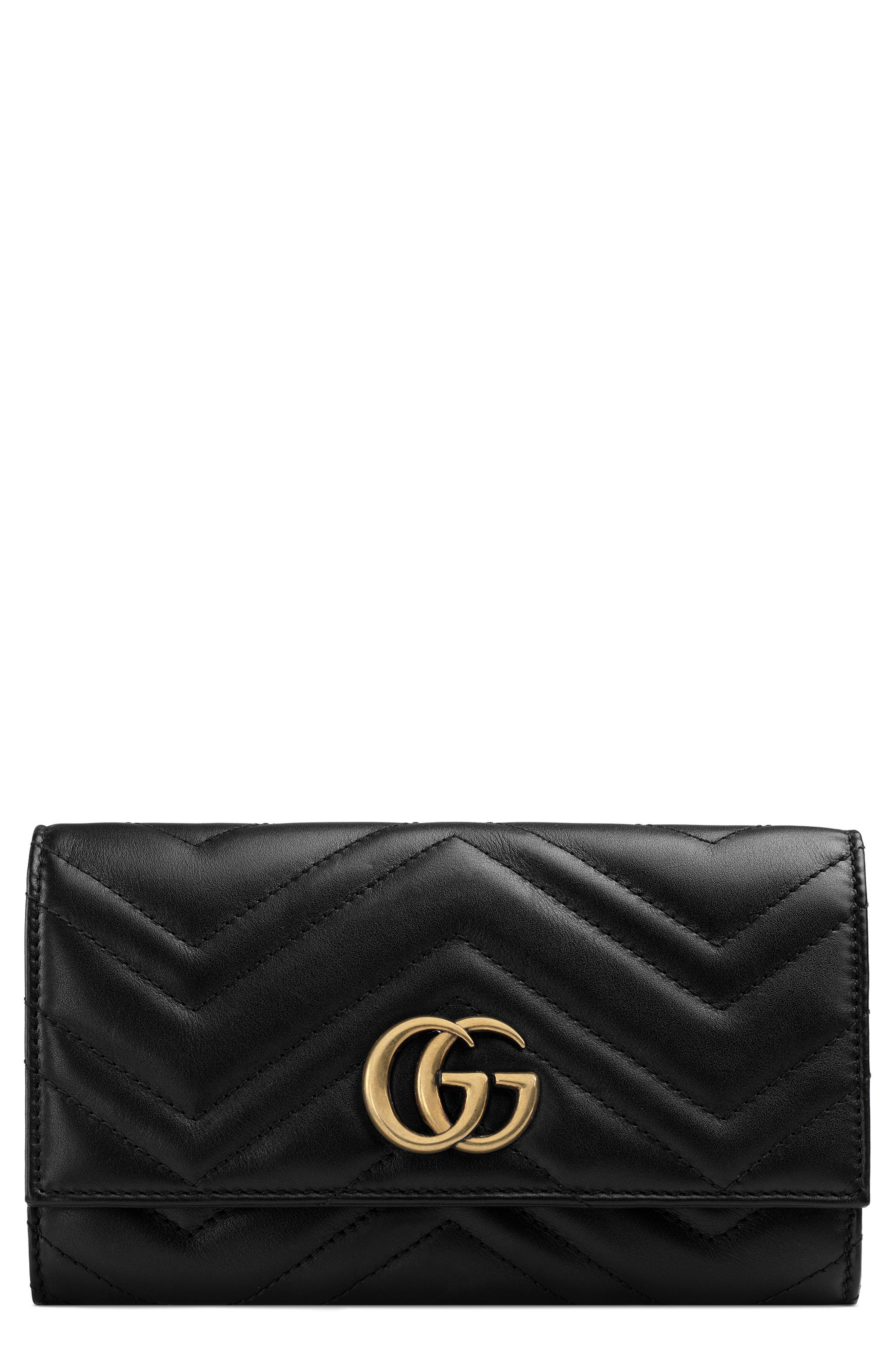 Marmont 2.0 Leather Continental Wallet,                         Main,                         color, NERO