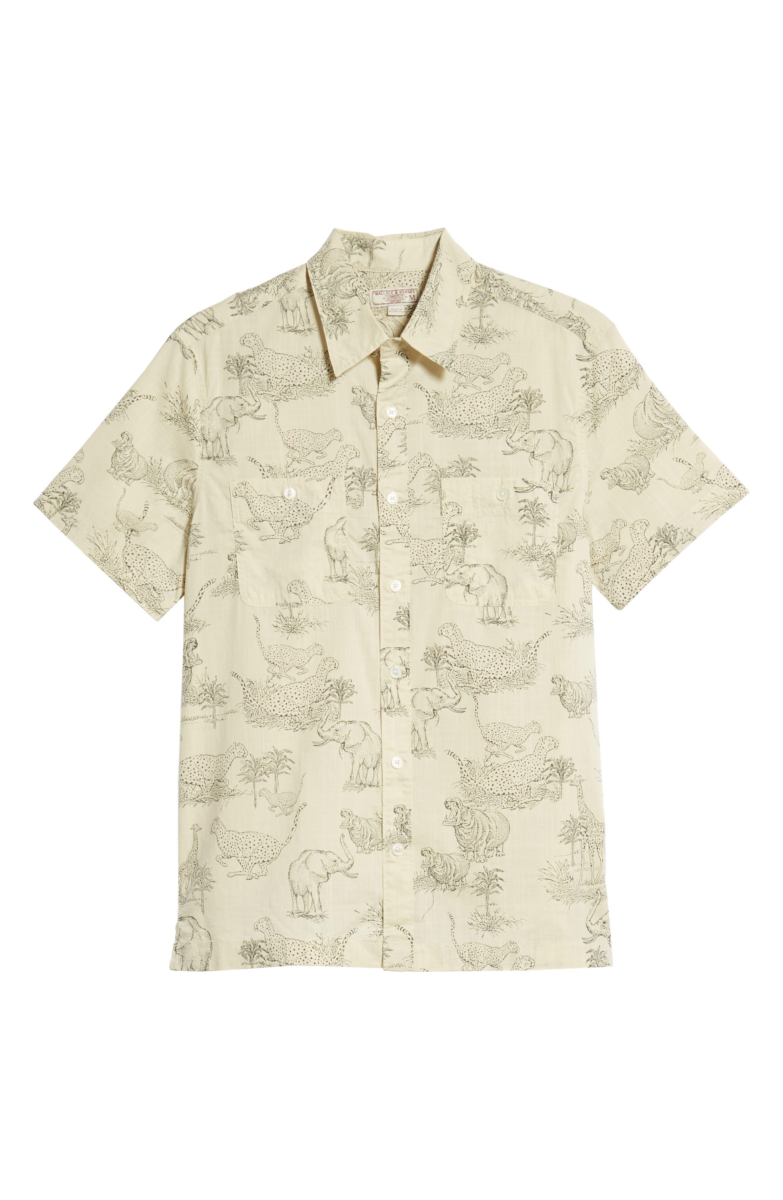 Regular Fit Safari Print Sport Shirt,                             Alternate thumbnail 6, color,                             250