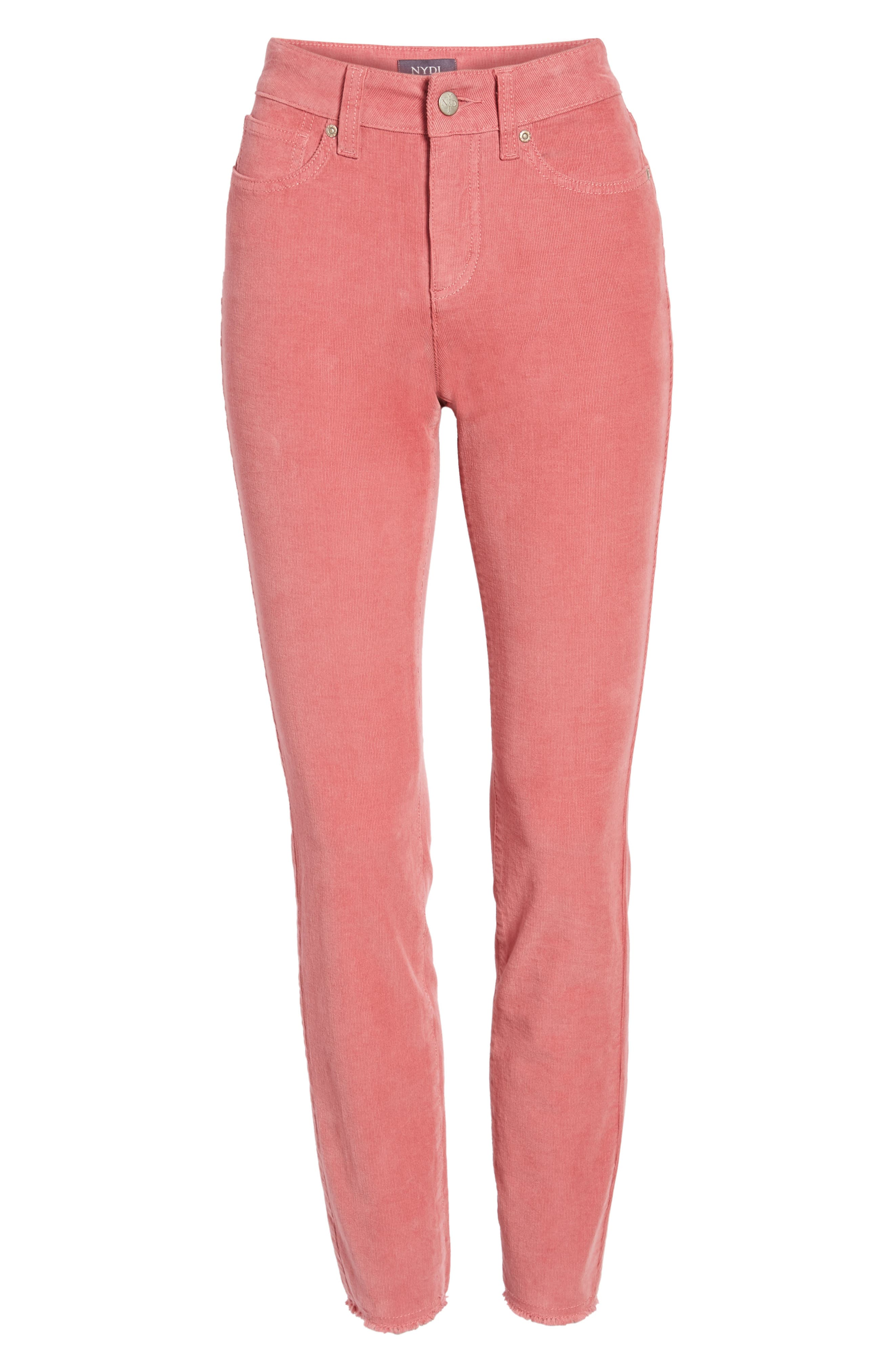 Alina Frayed Stretch Corduroy Ankle Jeans,                             Alternate thumbnail 15, color,