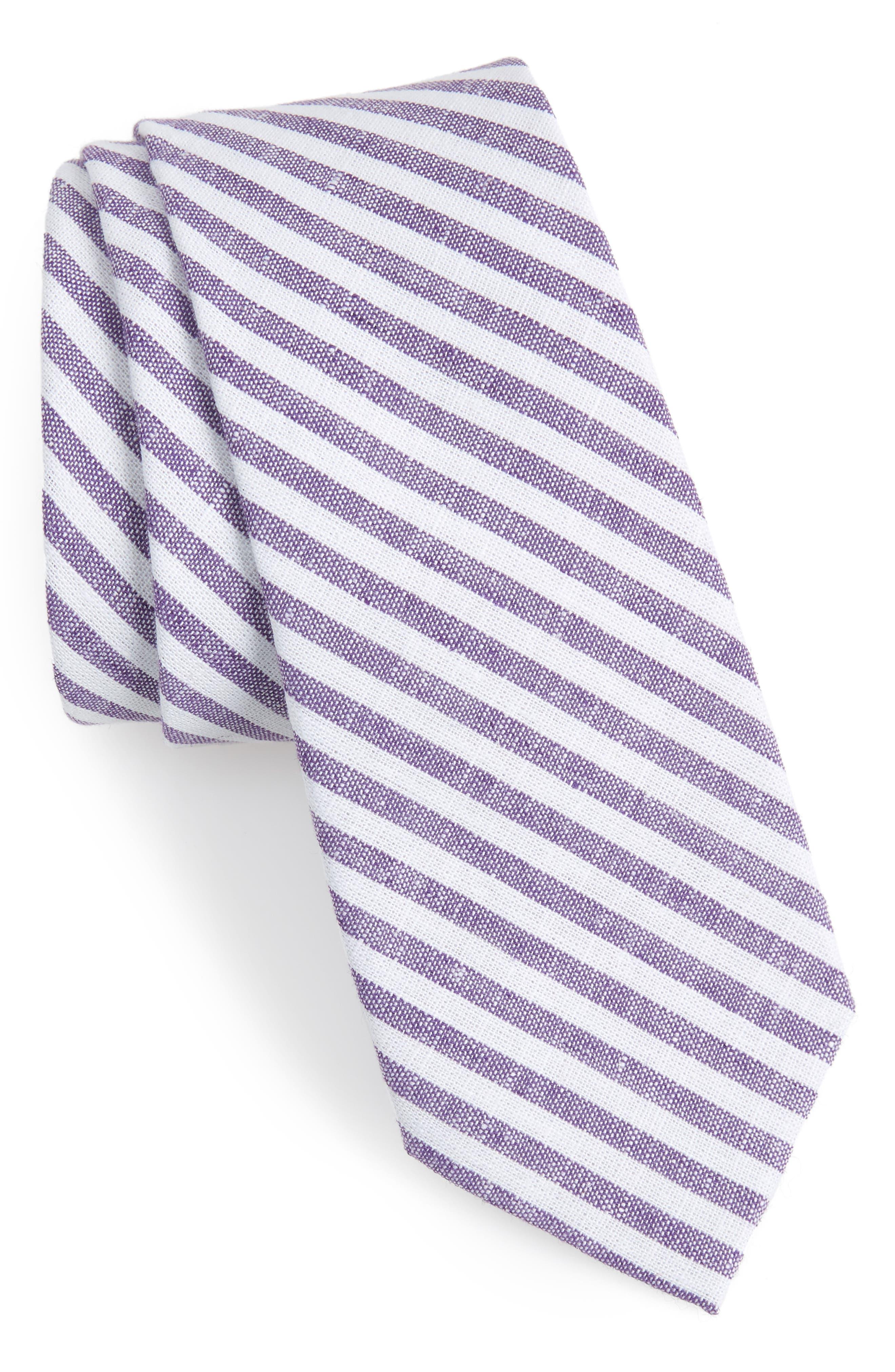 Telary Stripe Cotton Skinny Tie,                             Main thumbnail 2, color,