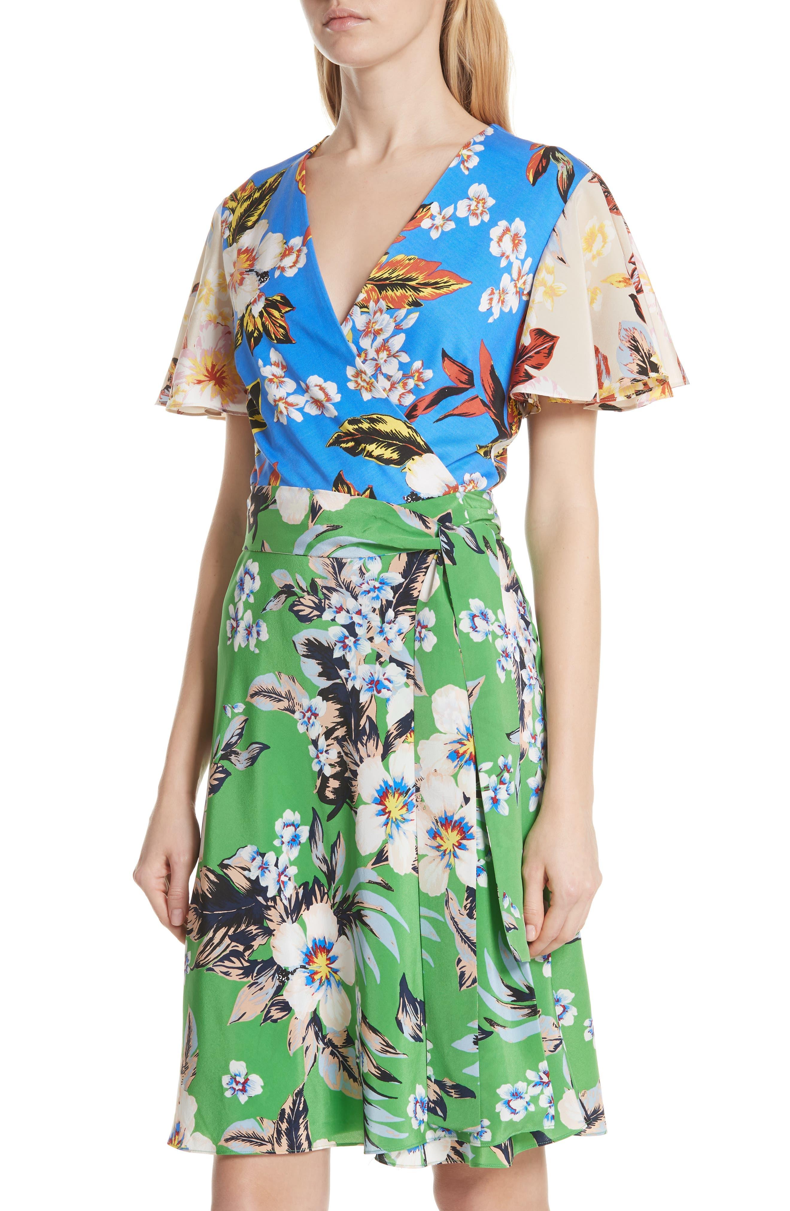 Diane von Furstenberg Flutter Sleeve Silk Wrap Dress,                             Alternate thumbnail 4, color,                             BOLAN PALM MULTI