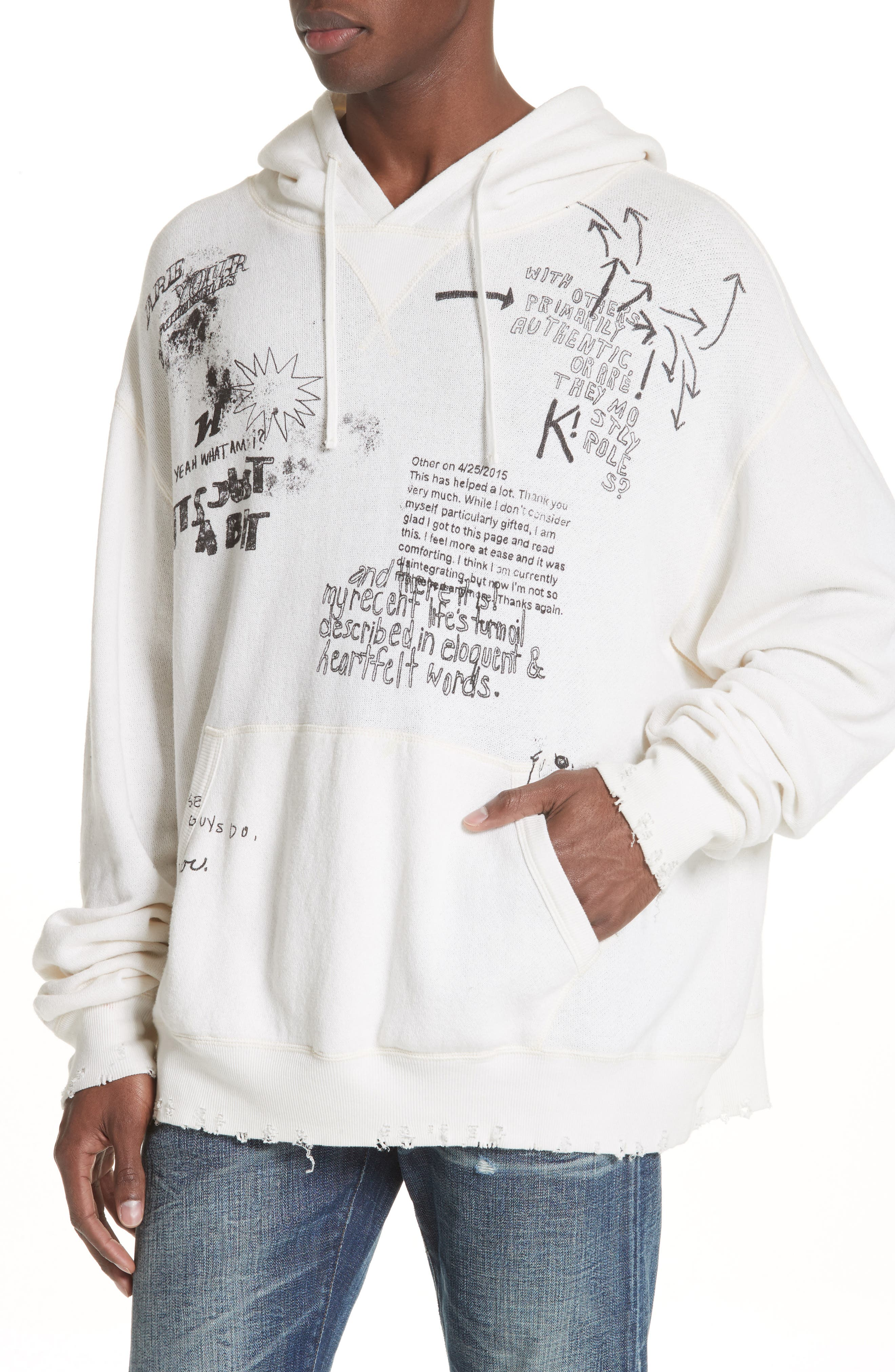 Doodle Hoodie,                             Alternate thumbnail 4, color,                             WHITE