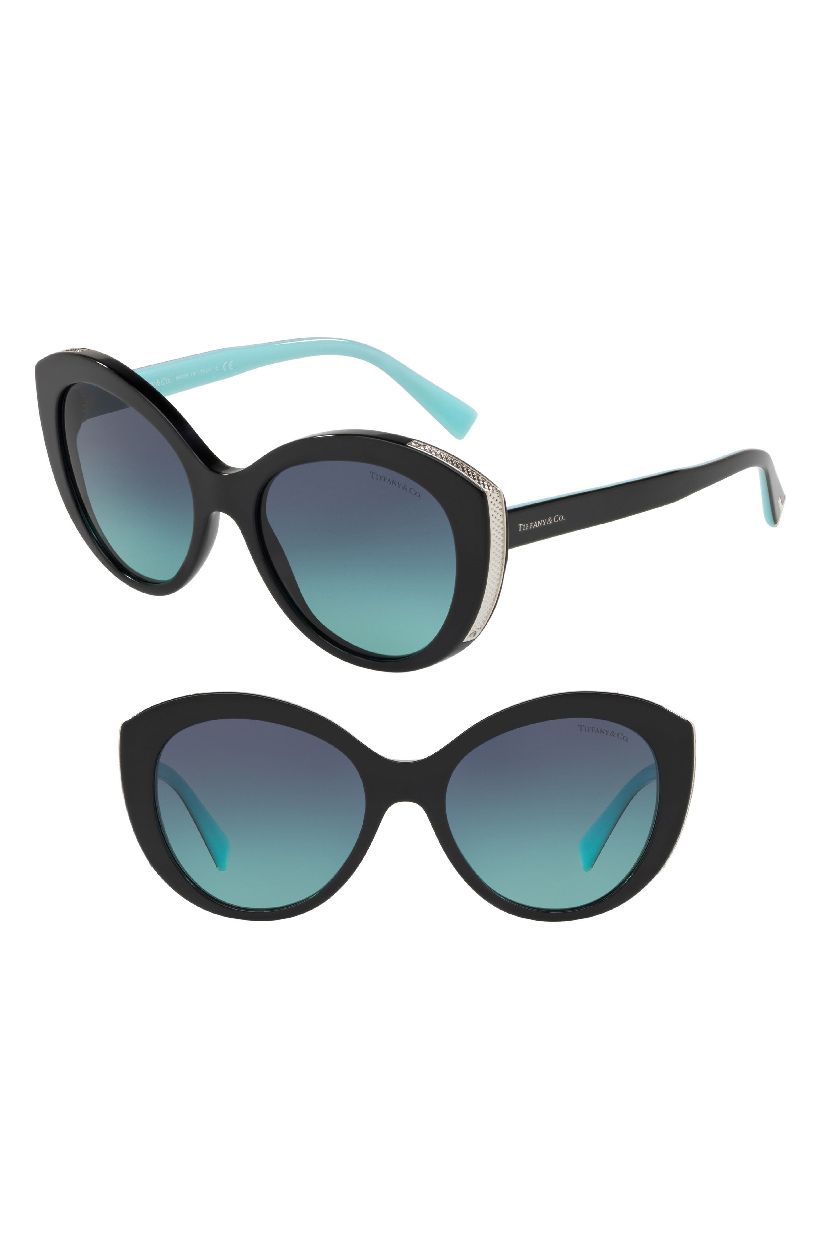 Diamond Point 54mm Gradient Round Sunglasses,                             Main thumbnail 1, color,                             BLACK GRADIENT