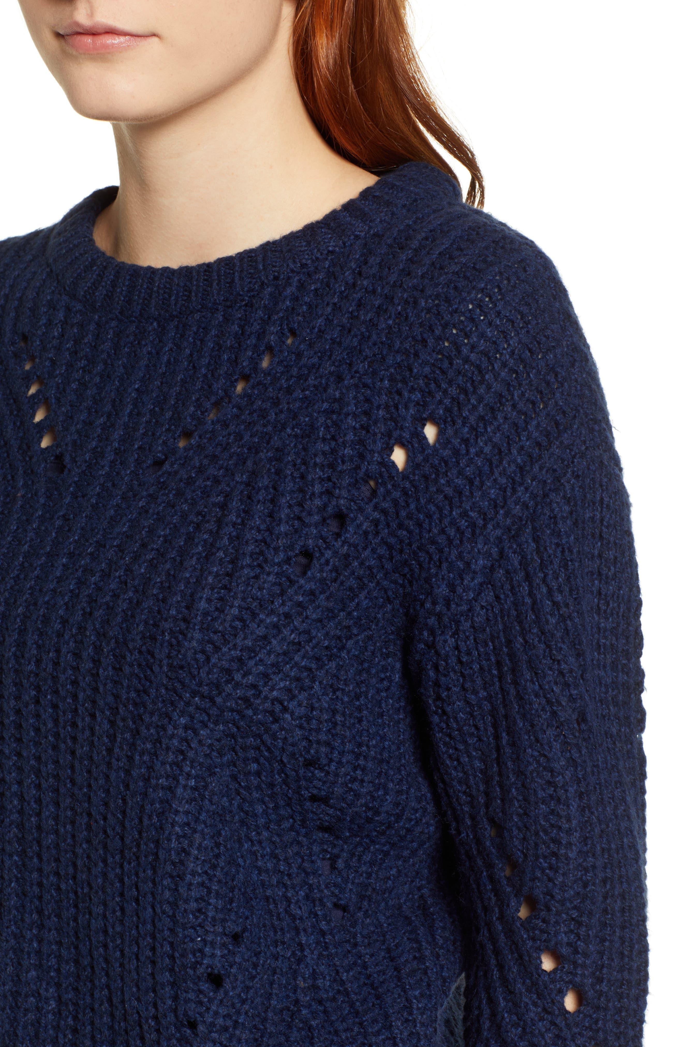 Rib Pointelle Detail Cotton Blend Sweater,                             Alternate thumbnail 4, color,                             CLASSIC NAVY