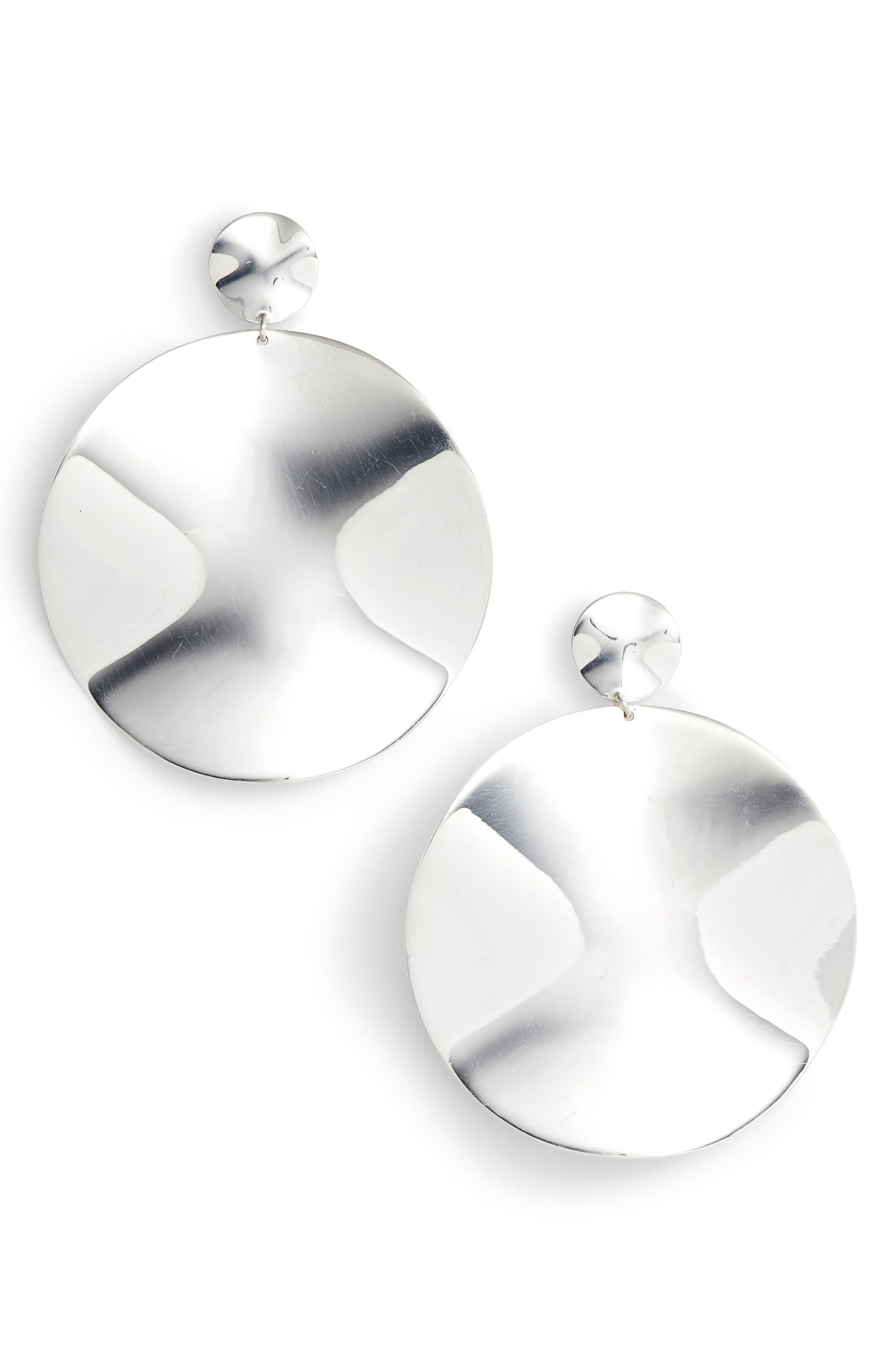Classico Large Wavy Disc Drop Earrings,                             Main thumbnail 1, color,                             SILVER