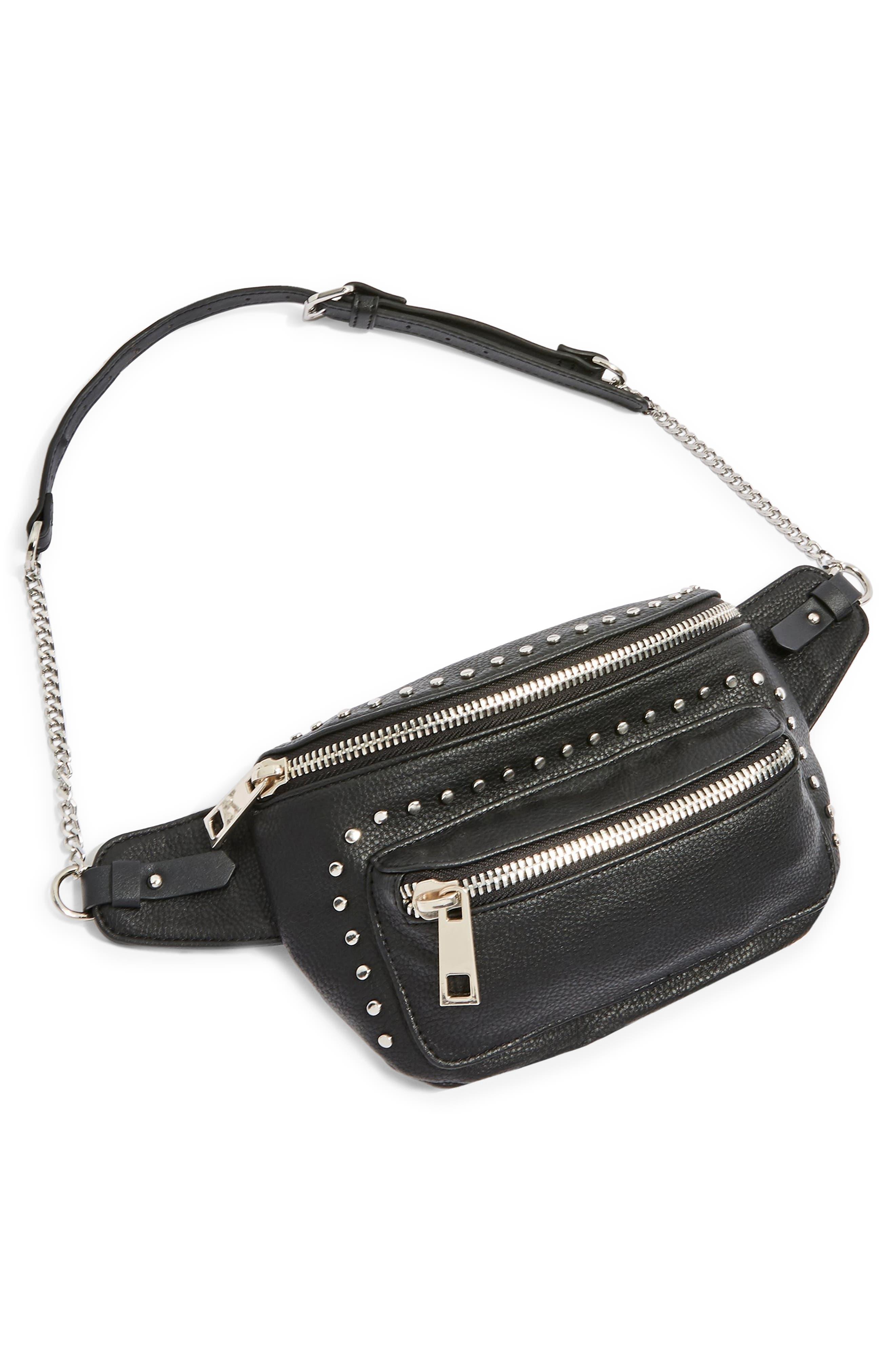 Branden Chain Belt Bag,                             Alternate thumbnail 5, color,                             BLACK