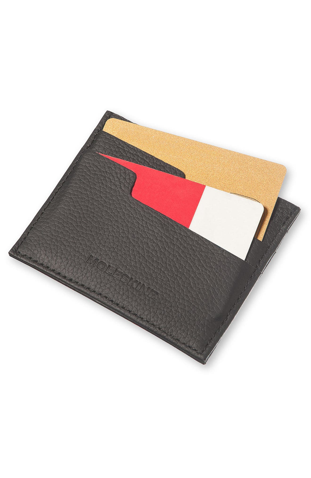 Moleskin Lineage Leather Card Case,                             Alternate thumbnail 4, color,                             001
