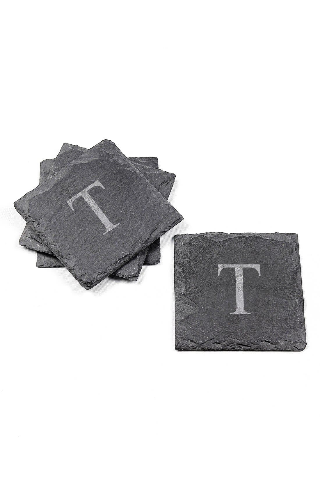 Monogram Slate Coasters,                             Main thumbnail 1, color,                             T