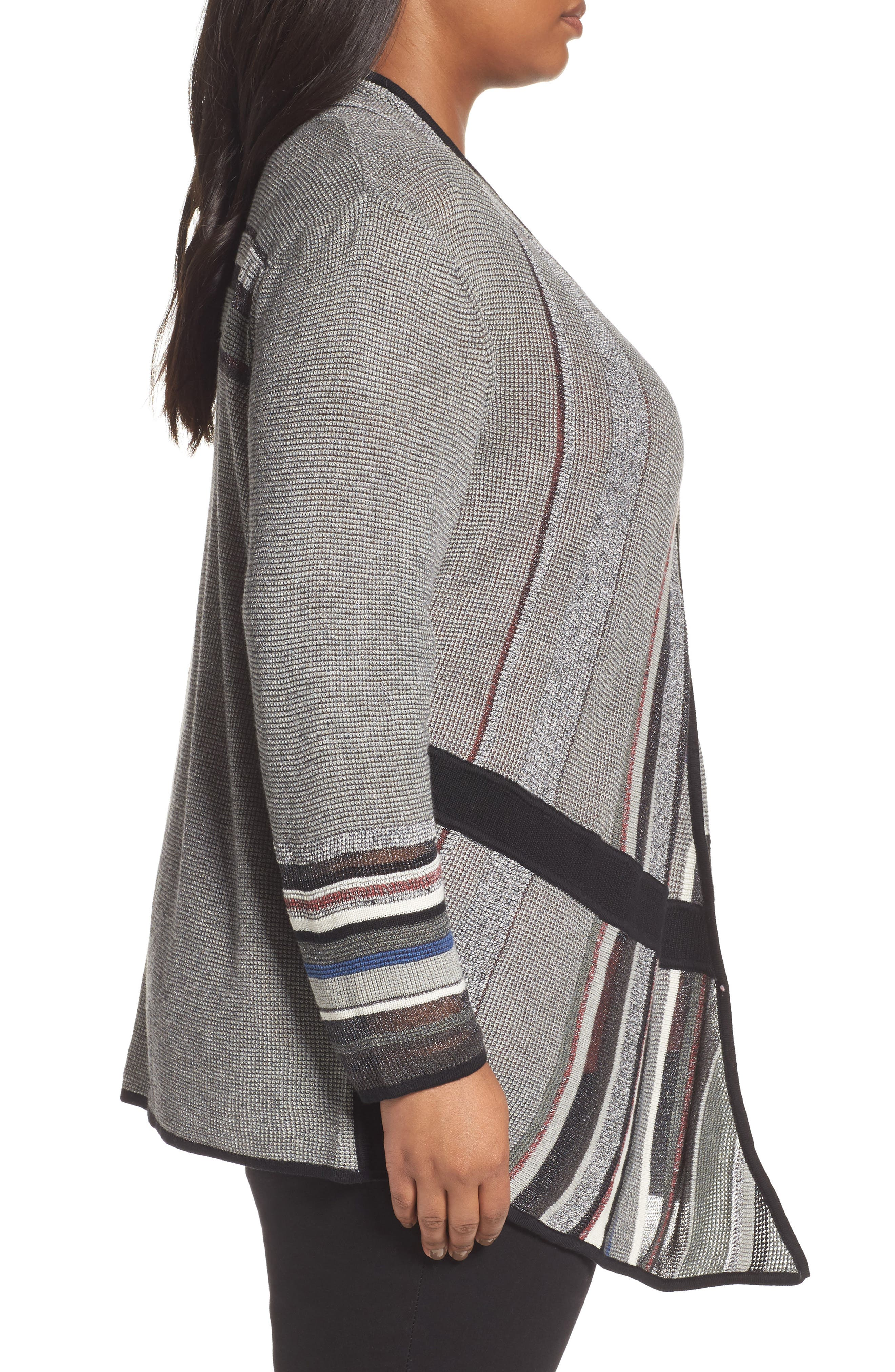 Mirror Image Cardigan,                             Alternate thumbnail 3, color,                             BLACK MULTI