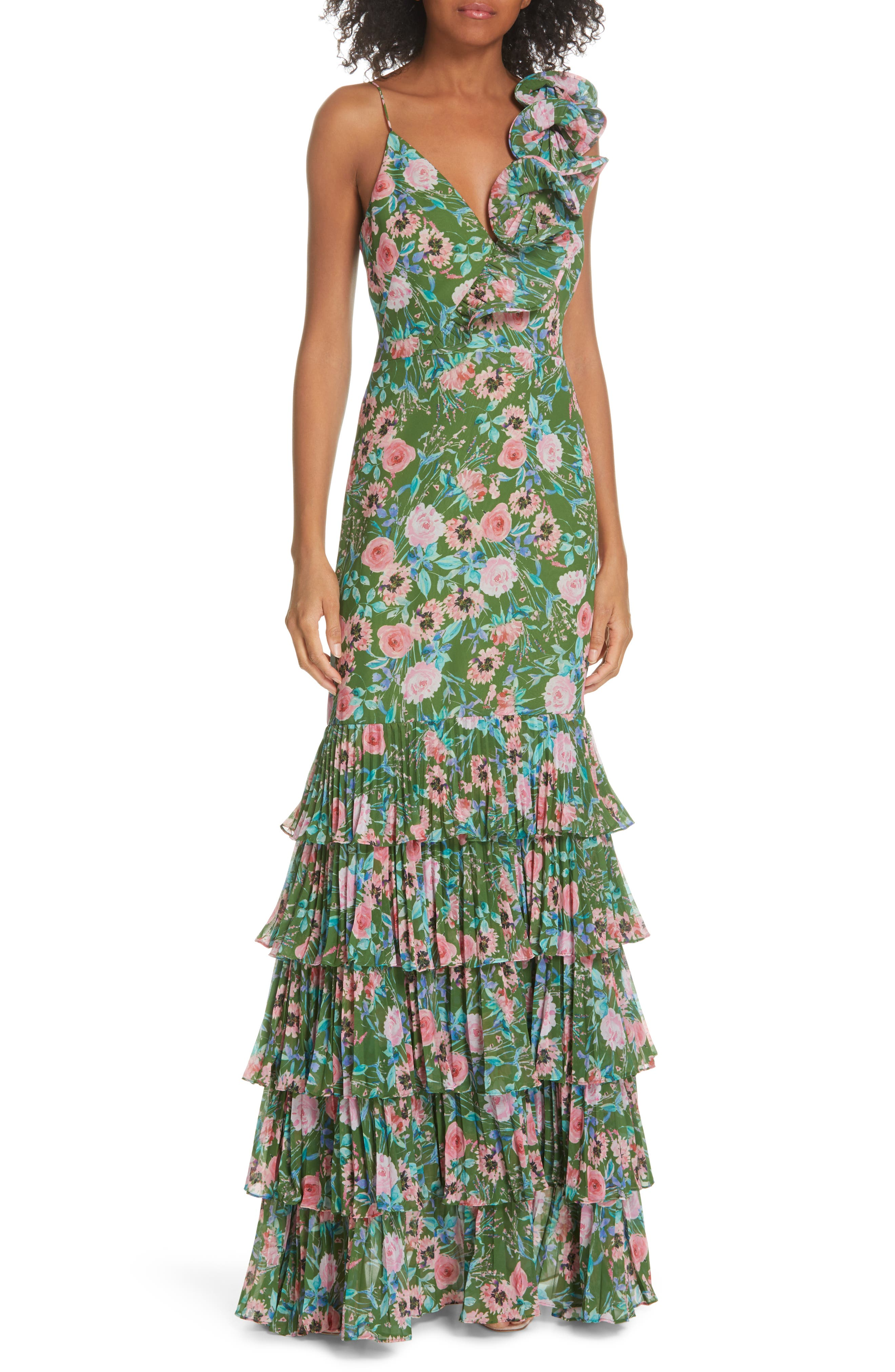 Amur Esme Floral Print Dress, Green
