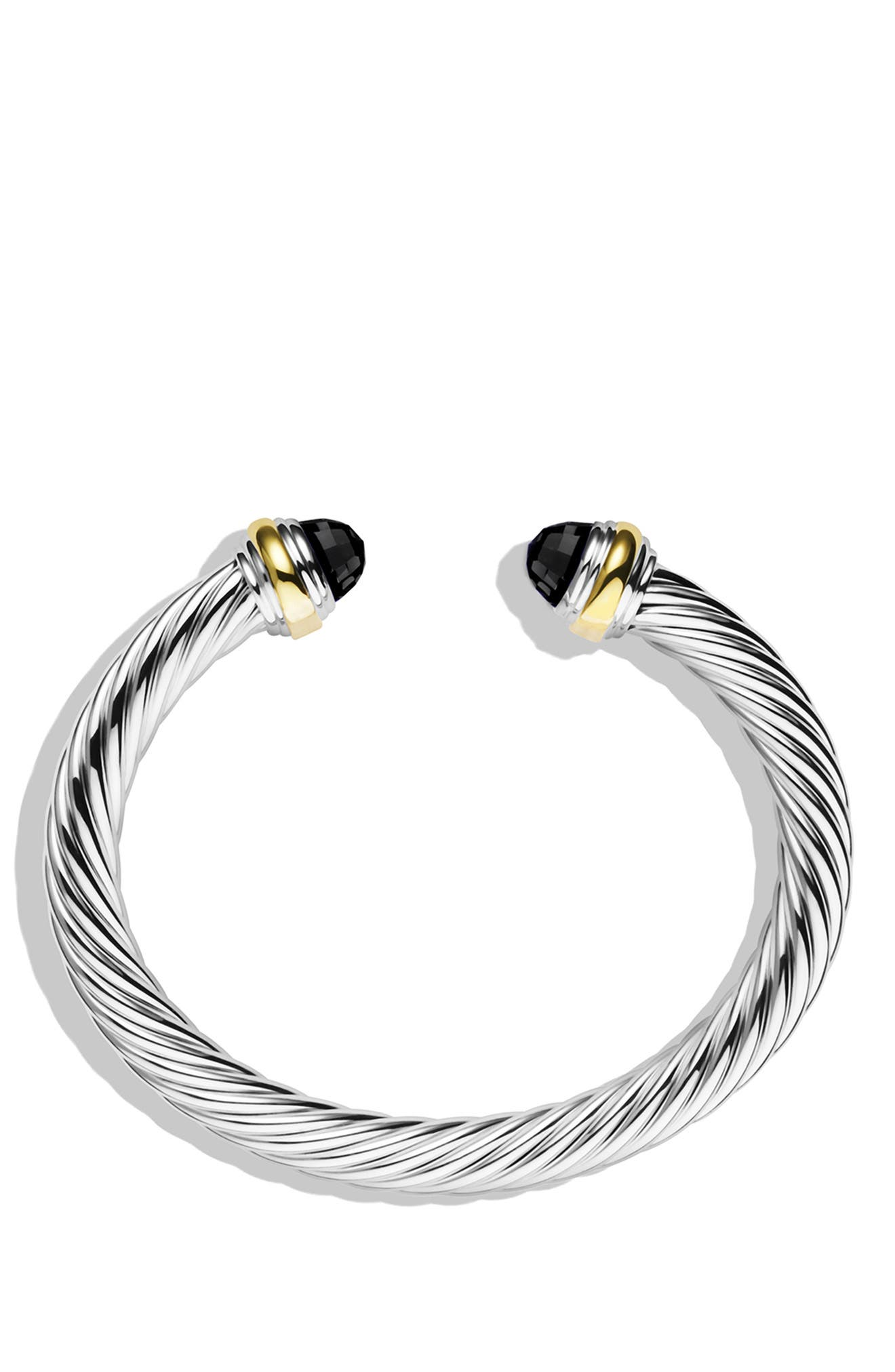 Cable Classics Bracelet with Semiprecious Stones & 14K Gold, 7mm,                             Alternate thumbnail 2, color,                             BLACK ONYX
