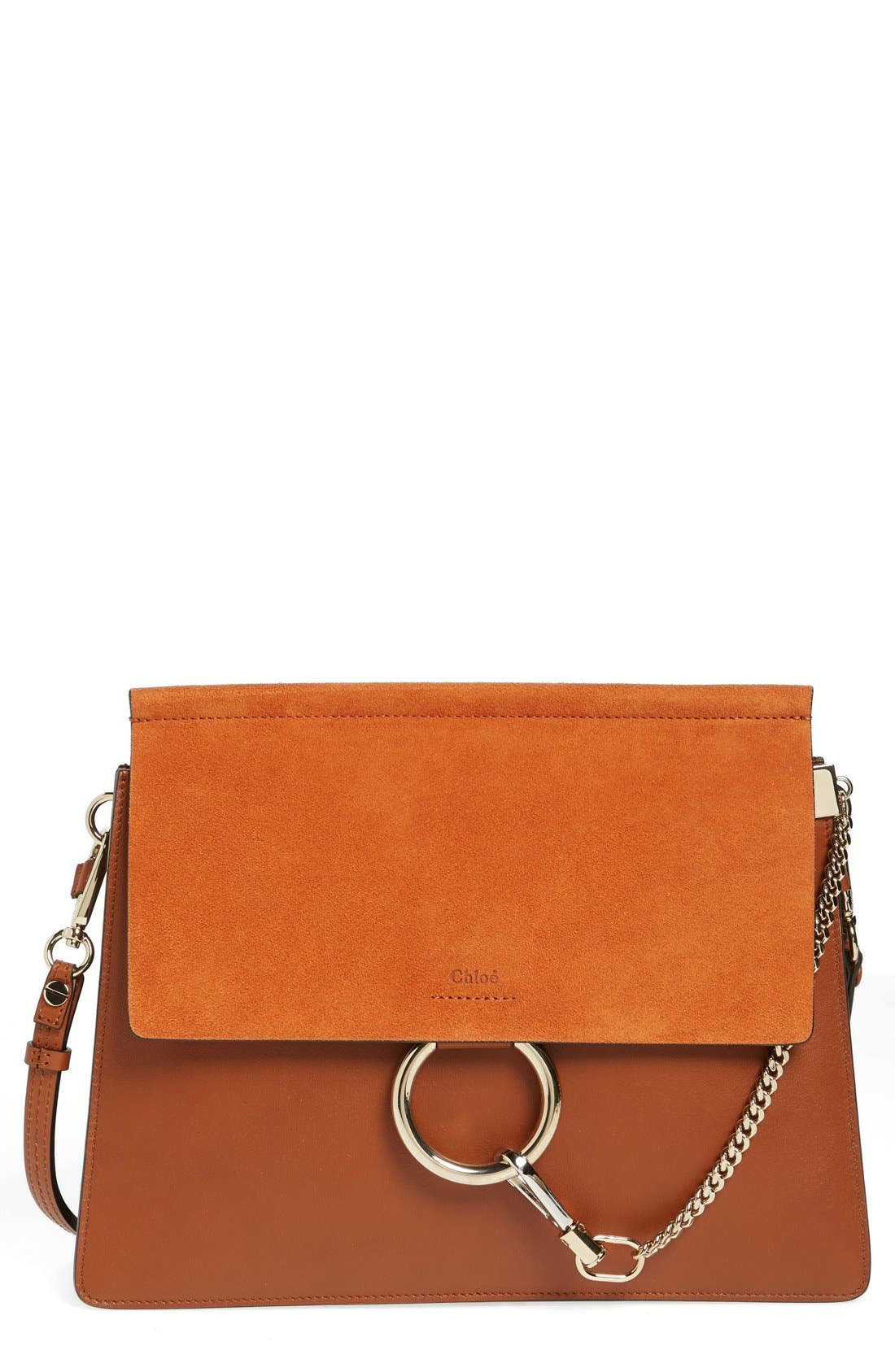 CHLOÉ 'Faye' Leather & Suede Shoulder Bag, Main, color, CLASSIC TOBACCO