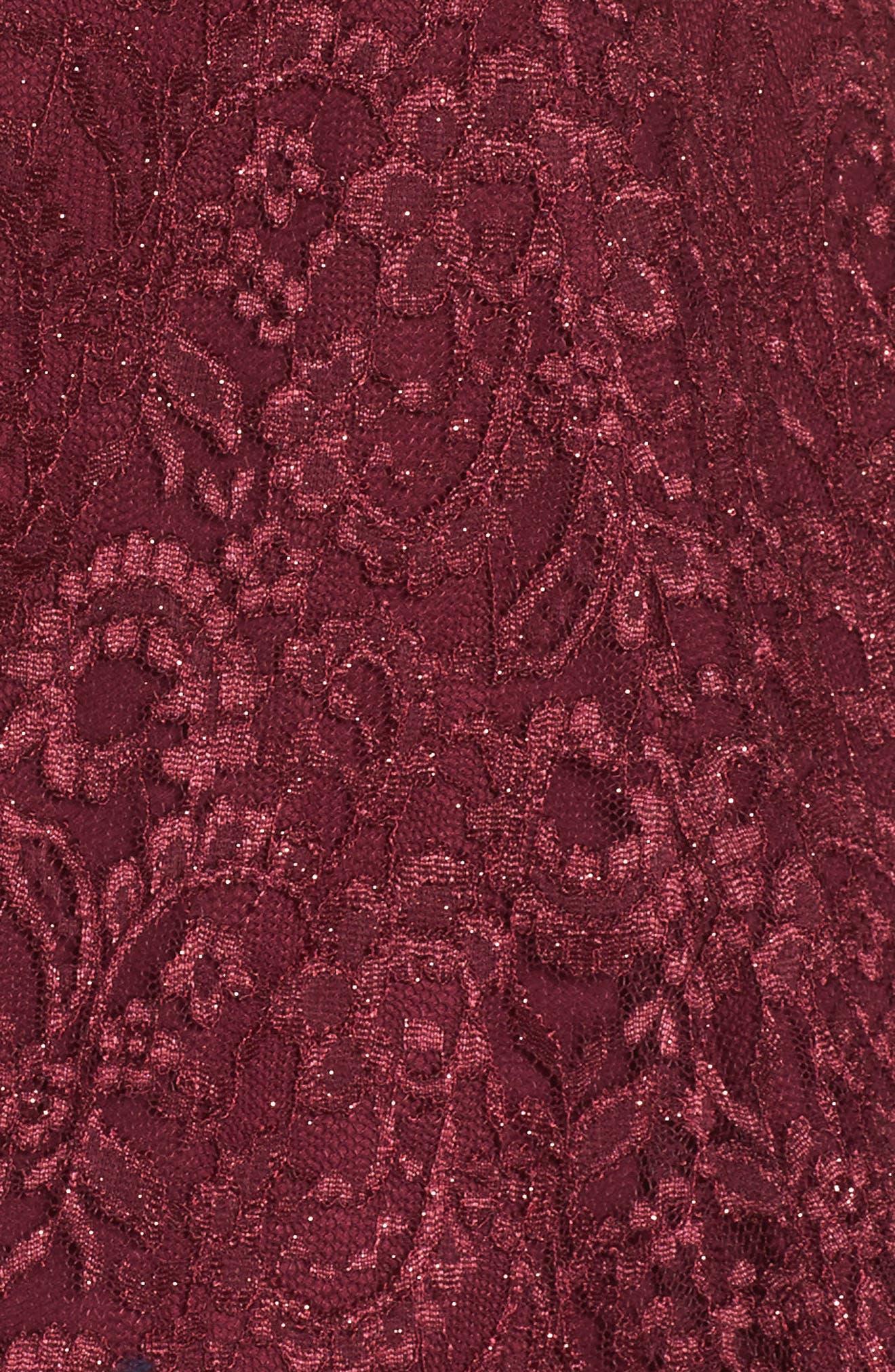 MORGAN & CO.,                             Cold Shoulder Glitter Lace Fit & Flare Dress,                             Alternate thumbnail 6, color,                             MERLOT