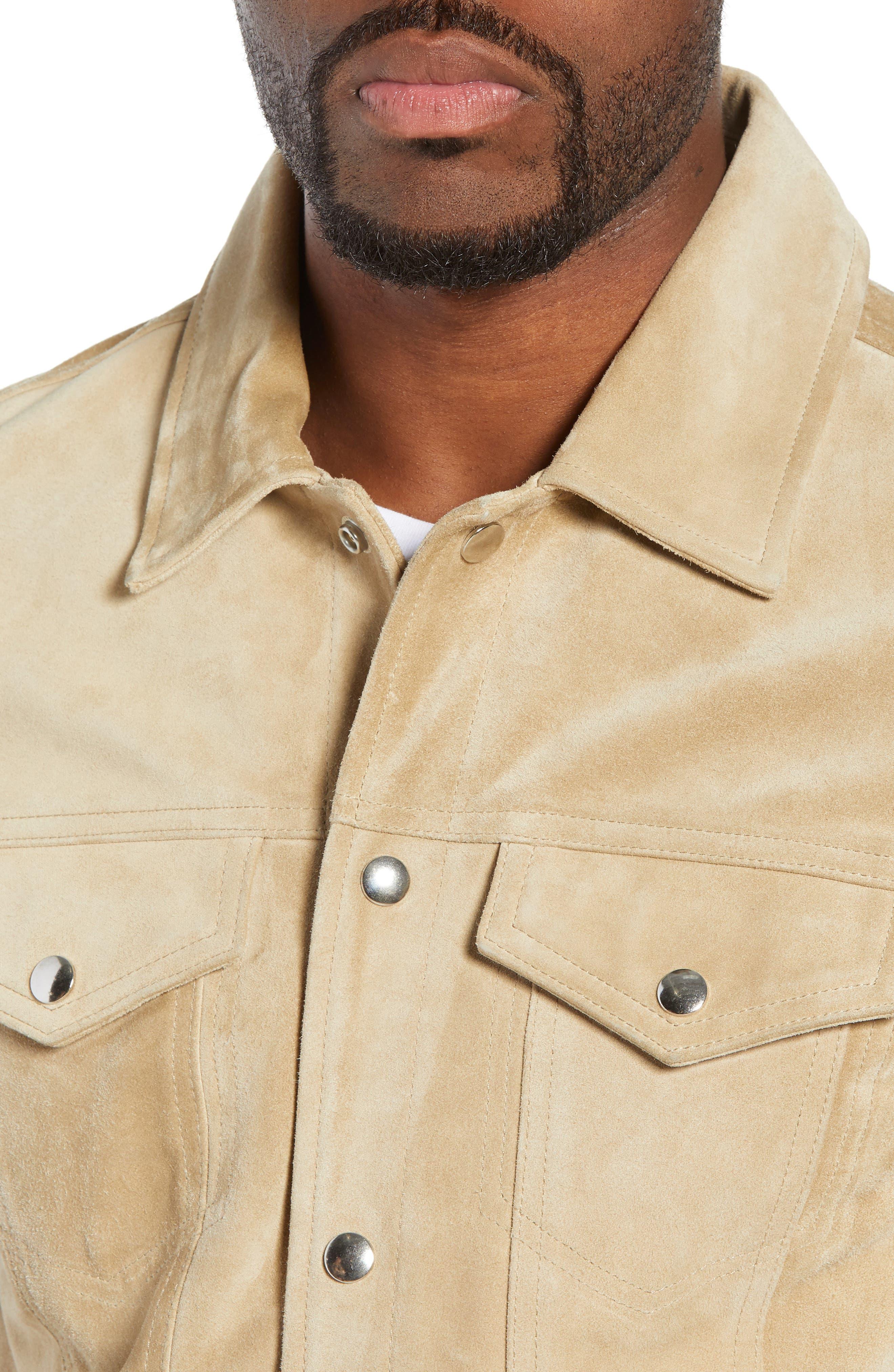 Slim Fit Leather Western Jacket,                             Alternate thumbnail 4, color,                             KHAKI