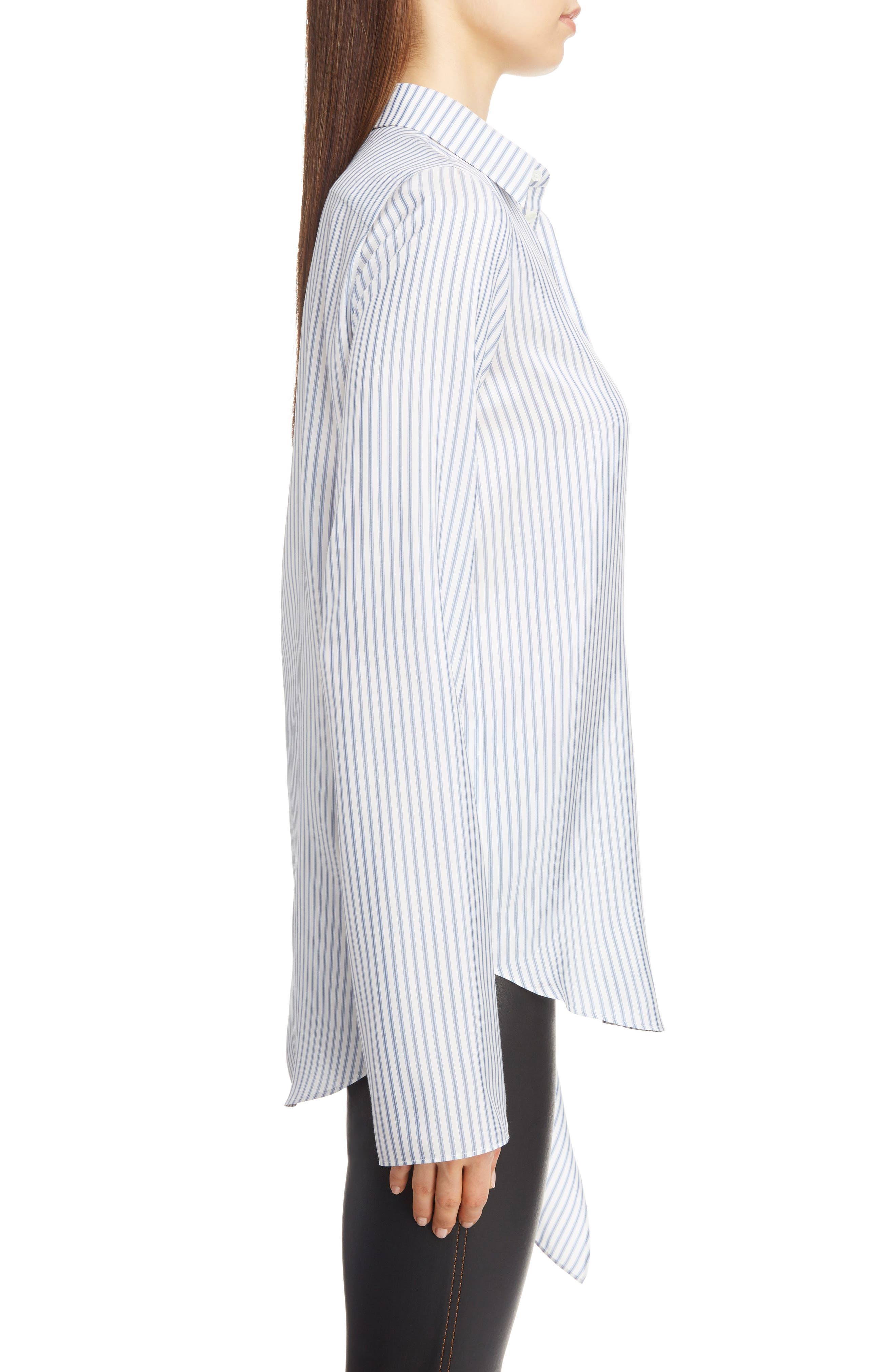 Stripe Tie Hem Silk Shirt,                             Alternate thumbnail 3, color,                             BLUE/ WHITE