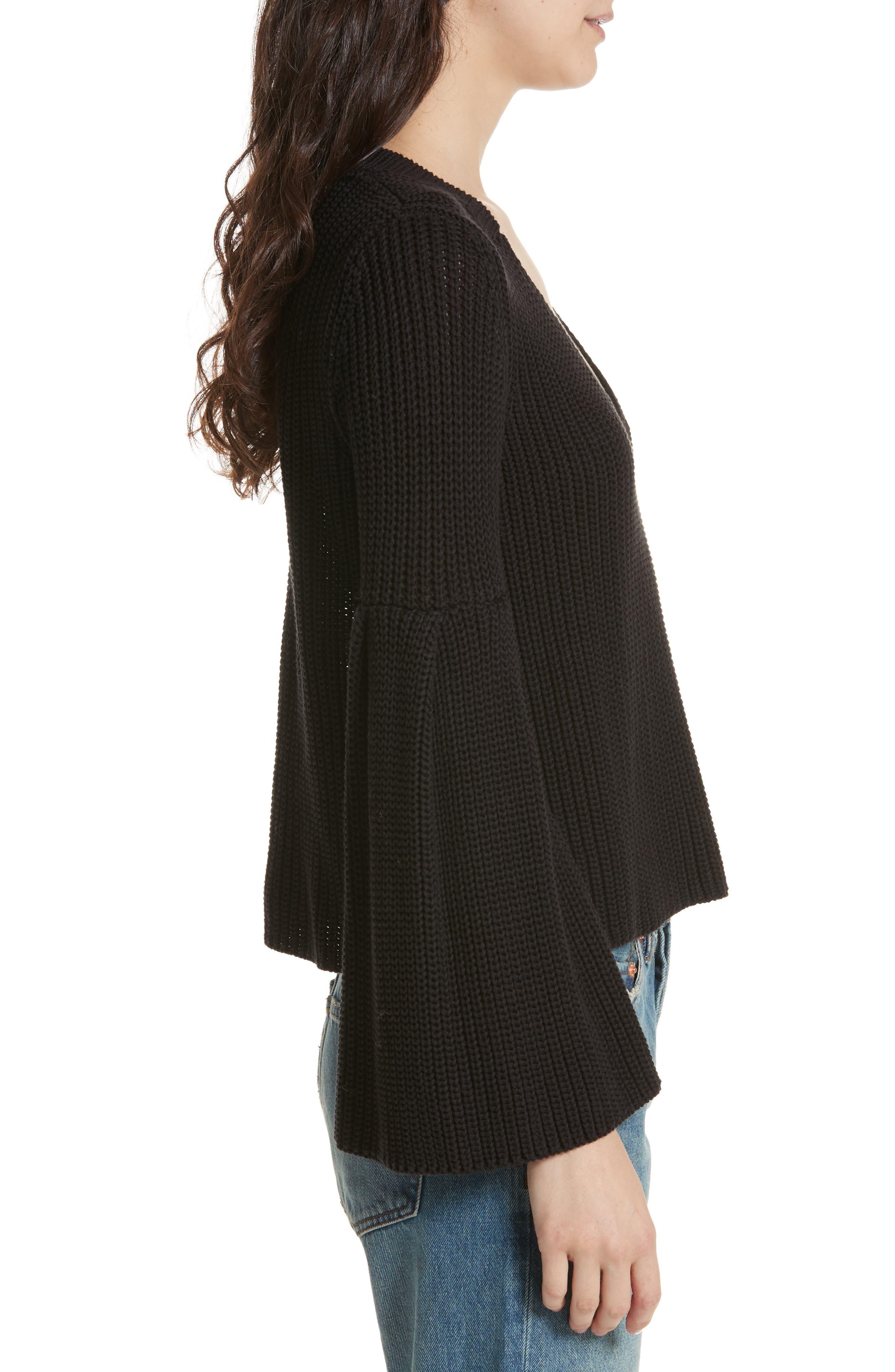 Damsel Bell Sleeve Pullover,                             Alternate thumbnail 3, color,                             001