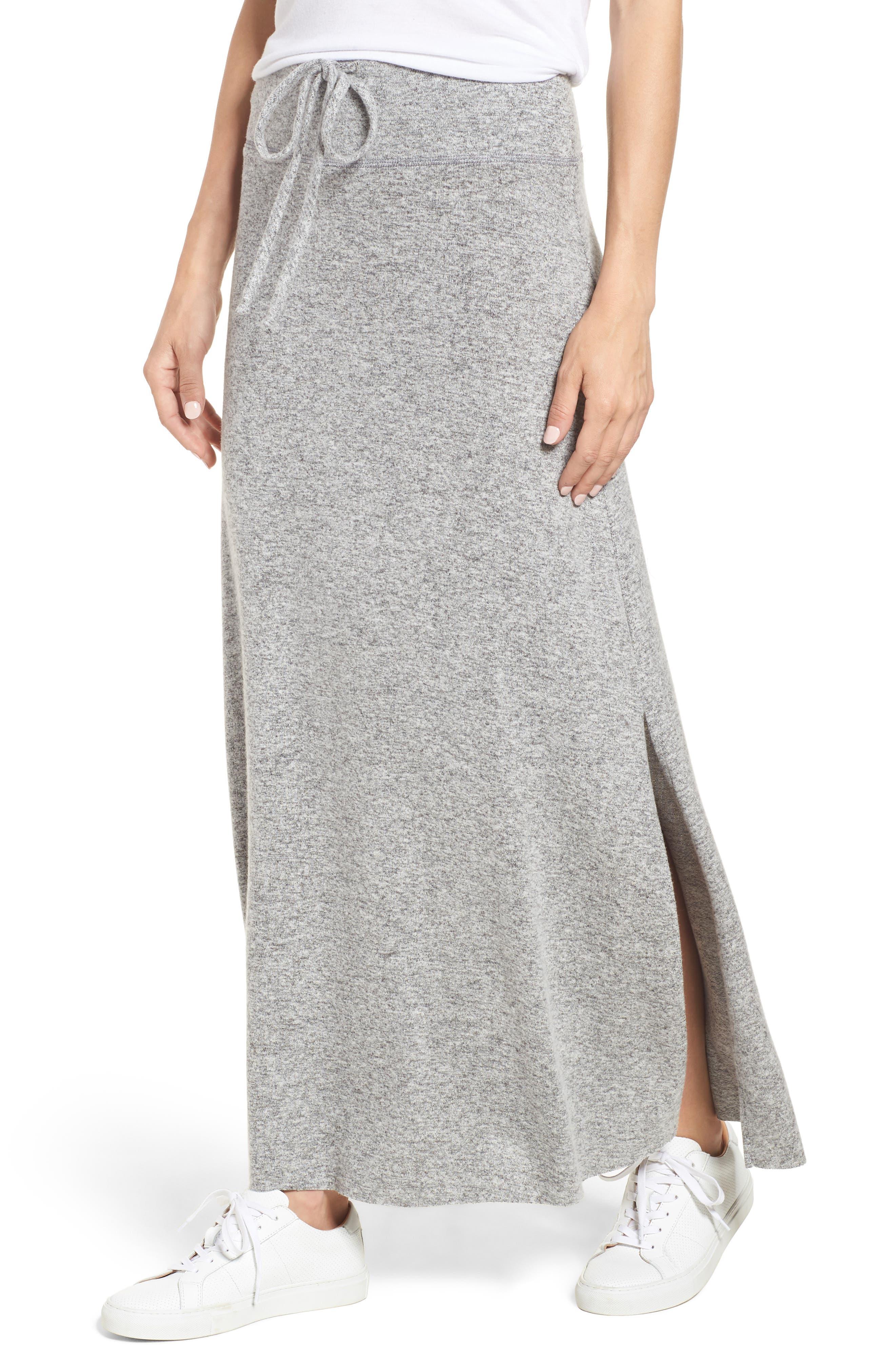 Fleece Maxi Skirt, Main, color, 055