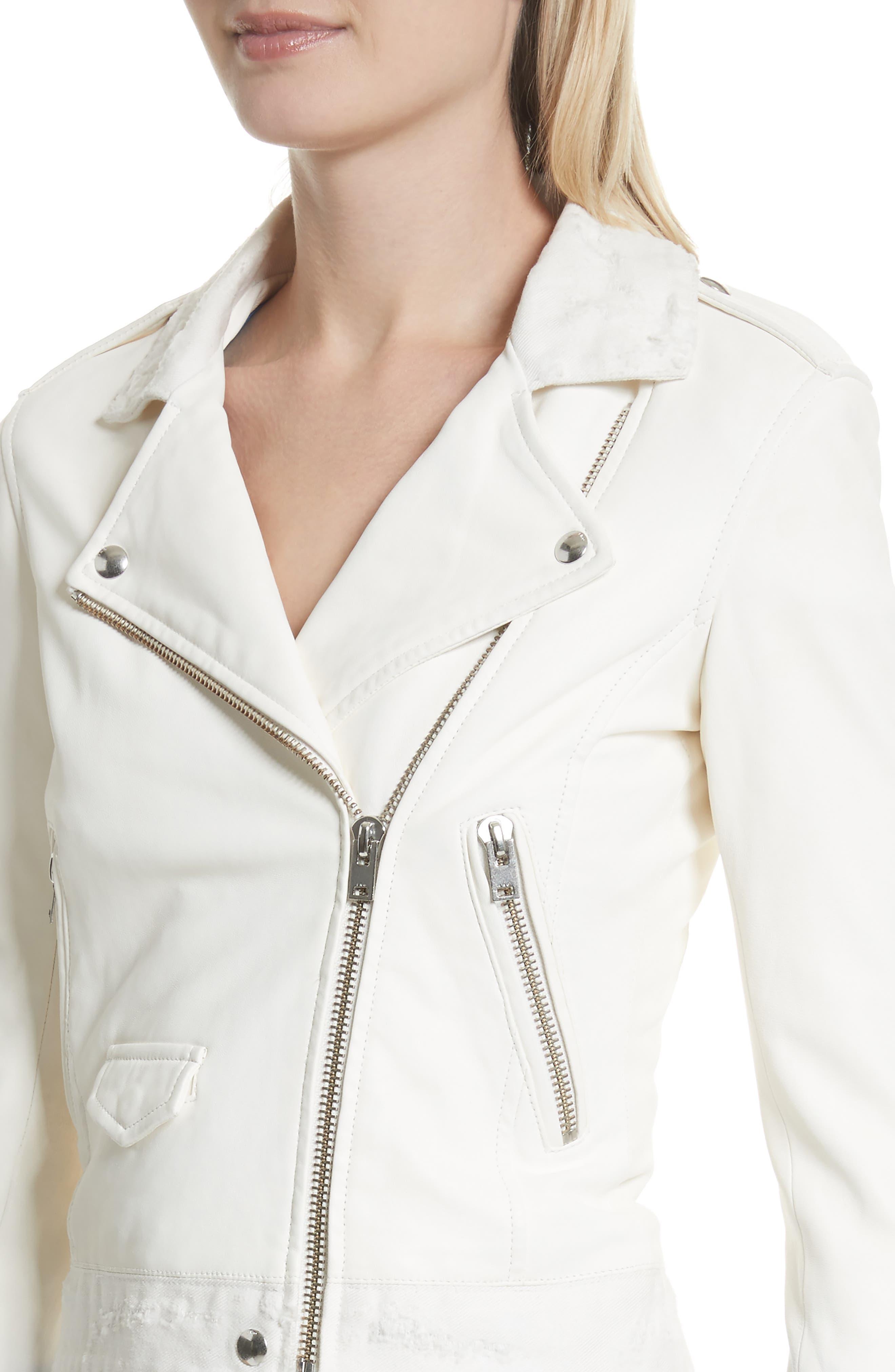 Maldone Denim Trim Leather Moto Jacket,                             Alternate thumbnail 4, color,