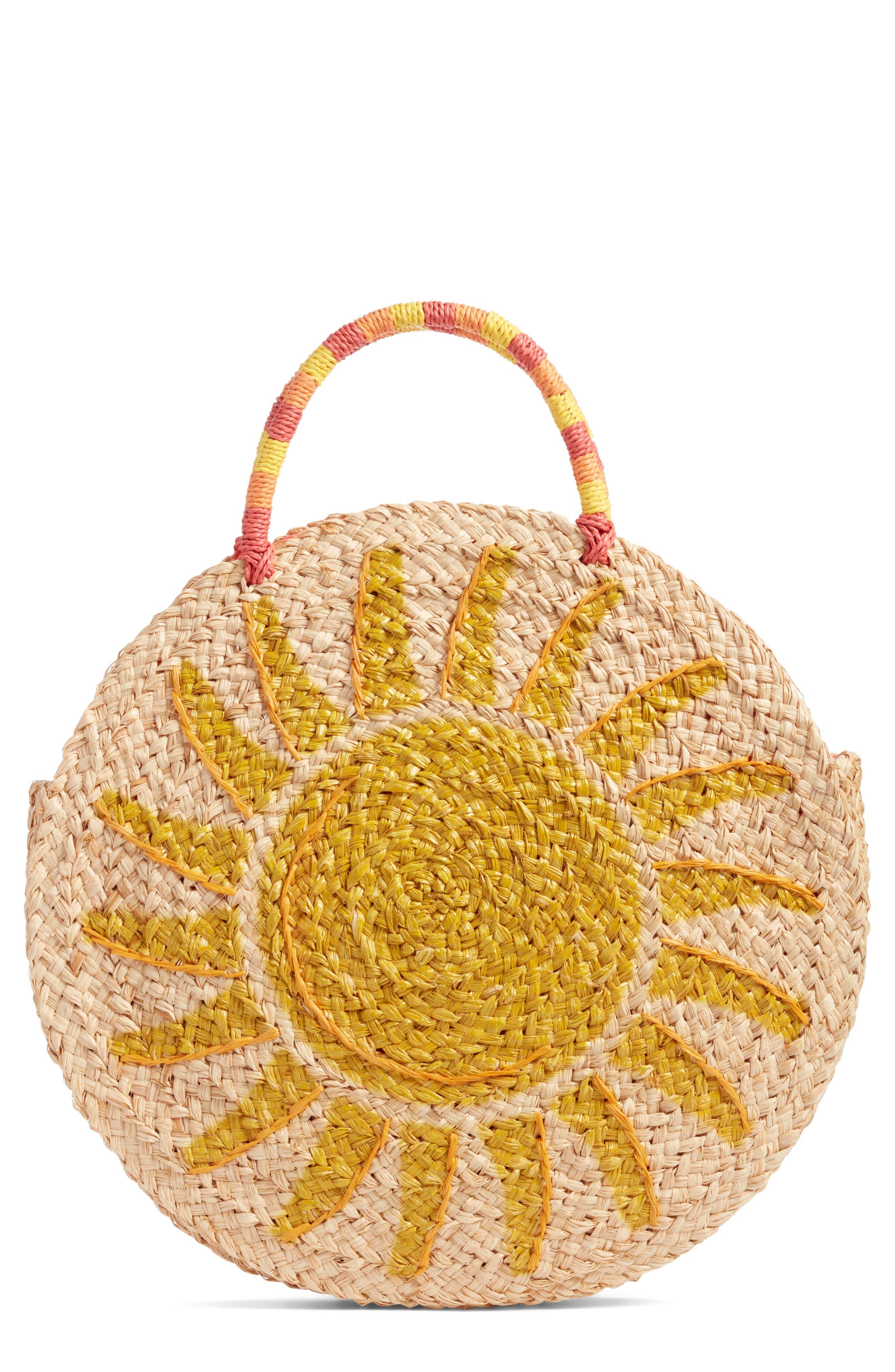 Shine Raffia Circular Tote,                         Main,                         color, 235