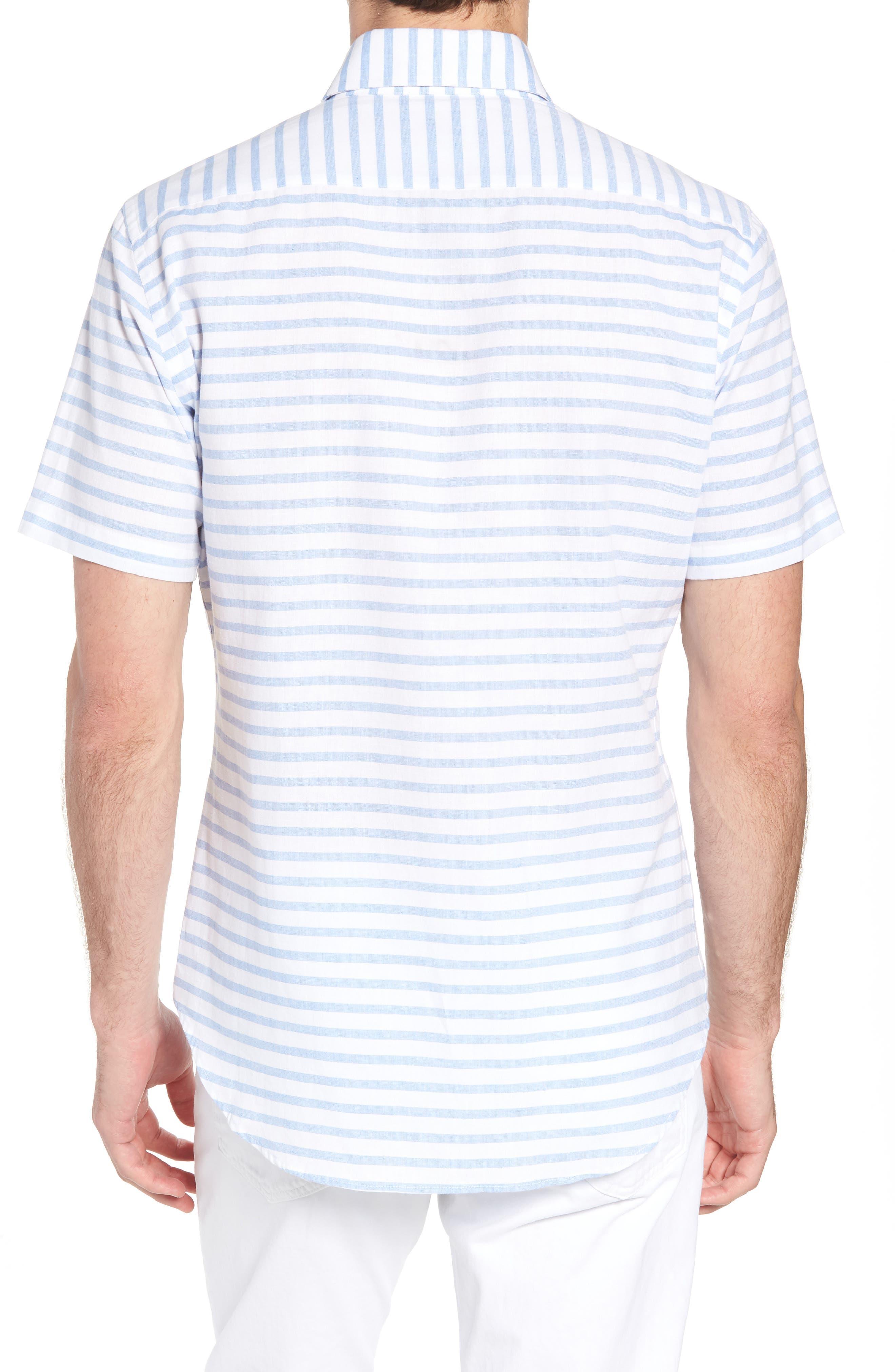 Gunnin Stripe Slim Fit Cotton & Linen Sport Shirt,                             Alternate thumbnail 2, color,                             400