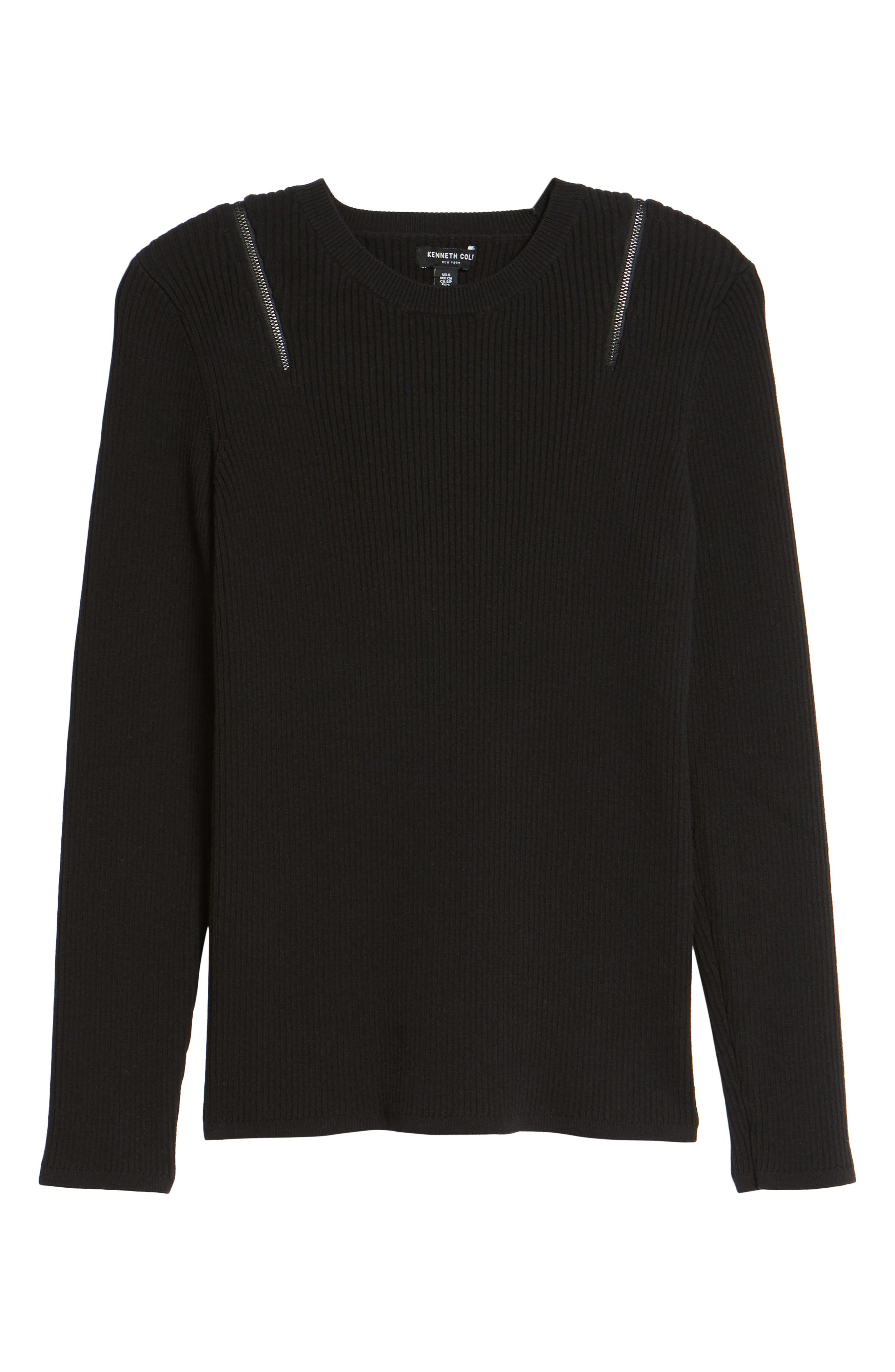Zip Shoulder Ribbed Sweater,                             Alternate thumbnail 11, color,