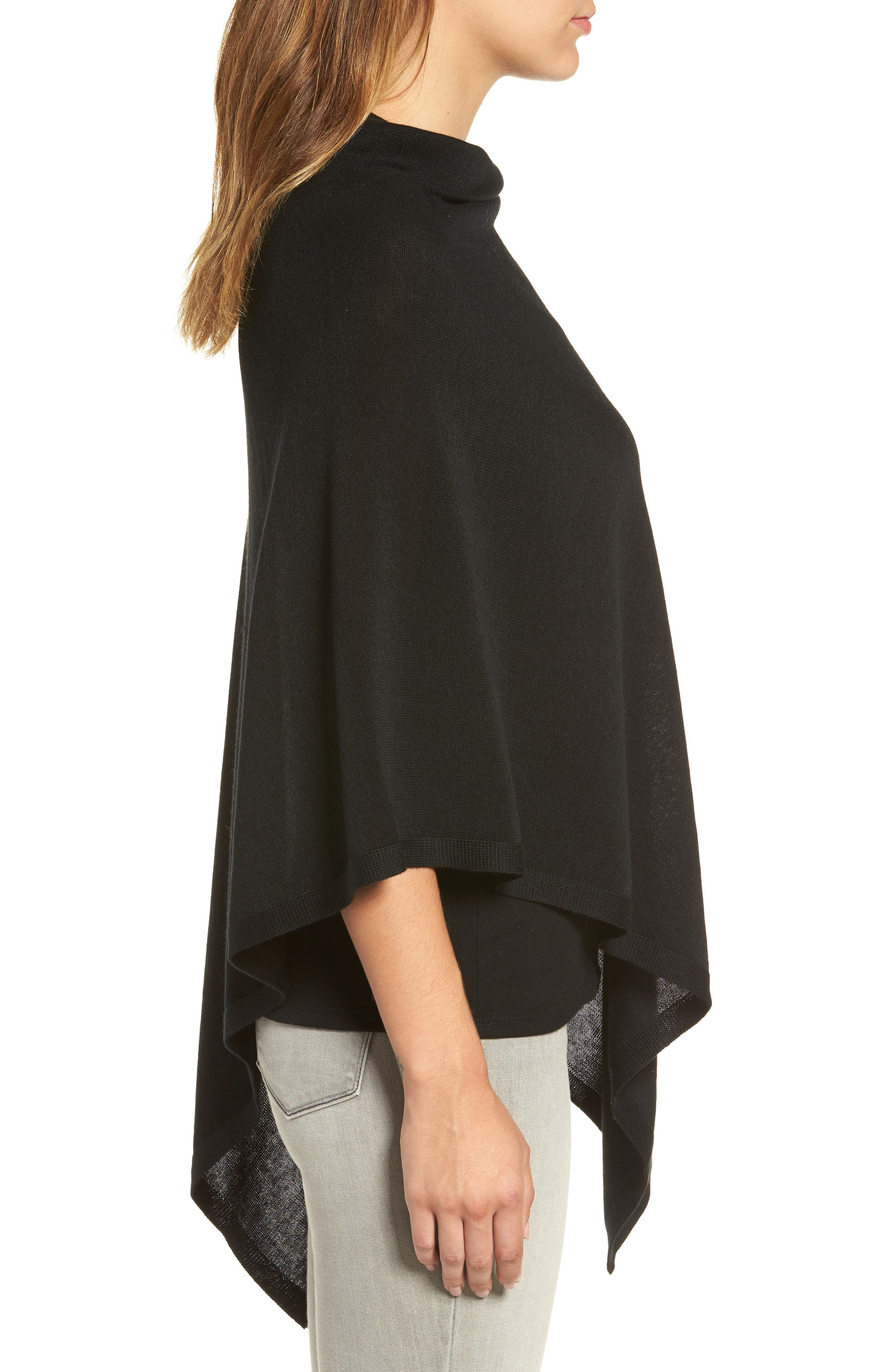 Tencel<sup>®</sup> & Wool Poncho,                             Alternate thumbnail 3, color,                             001