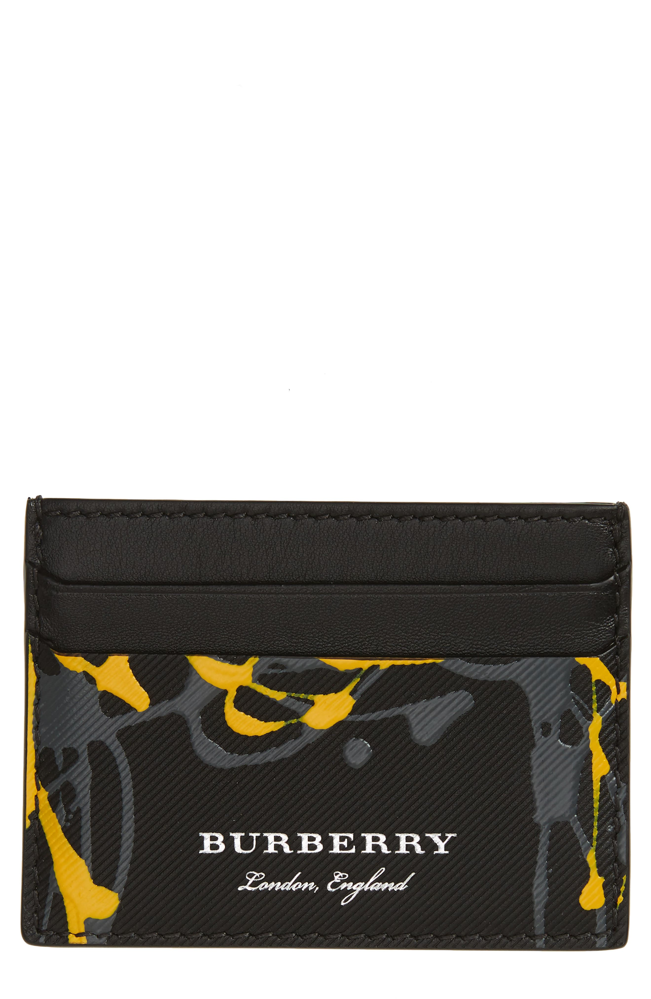 BURBERRY,                             Trench Splash Leather Card Case,                             Main thumbnail 1, color,                             001